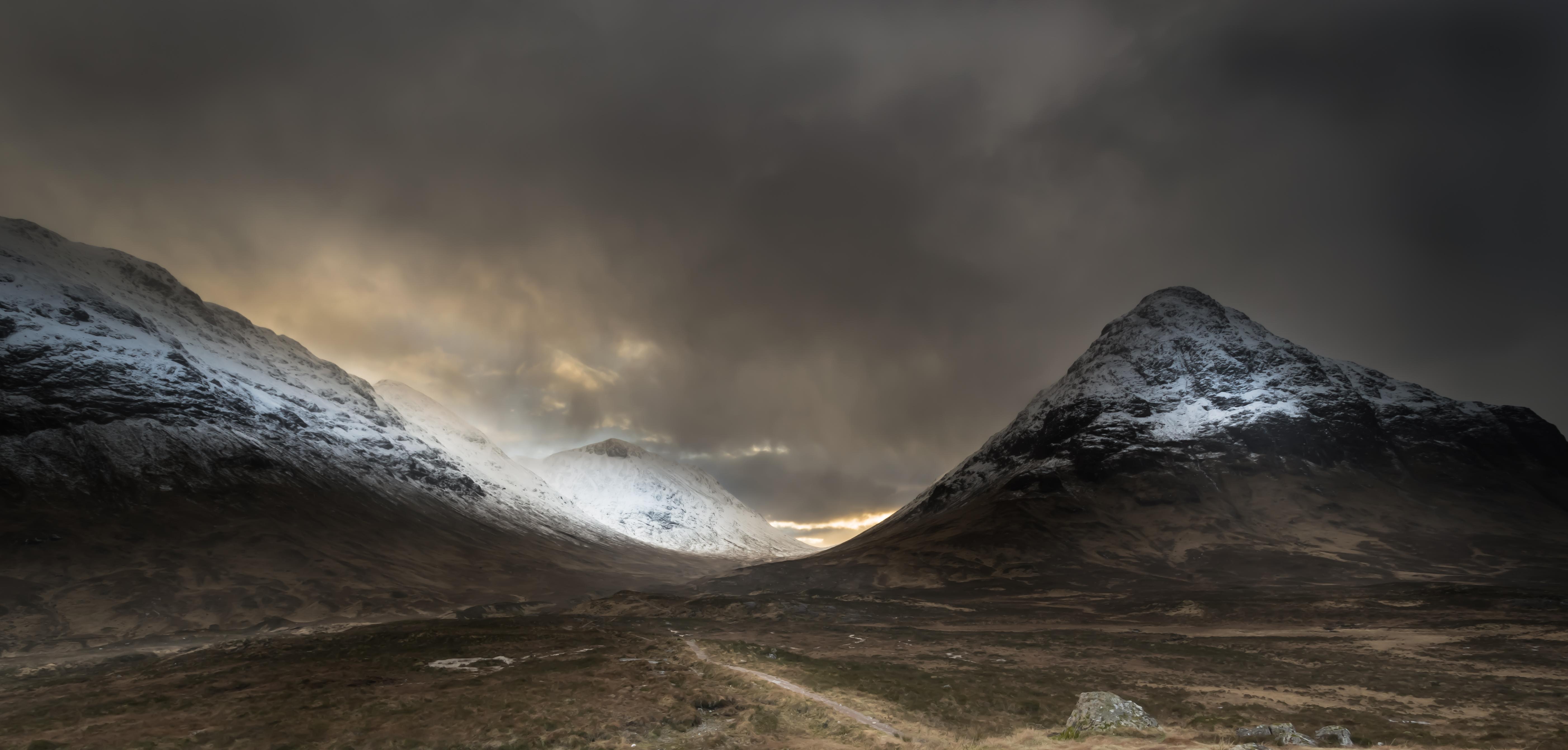Wallpaper Mountain Snow Winter Atmosphere Moody