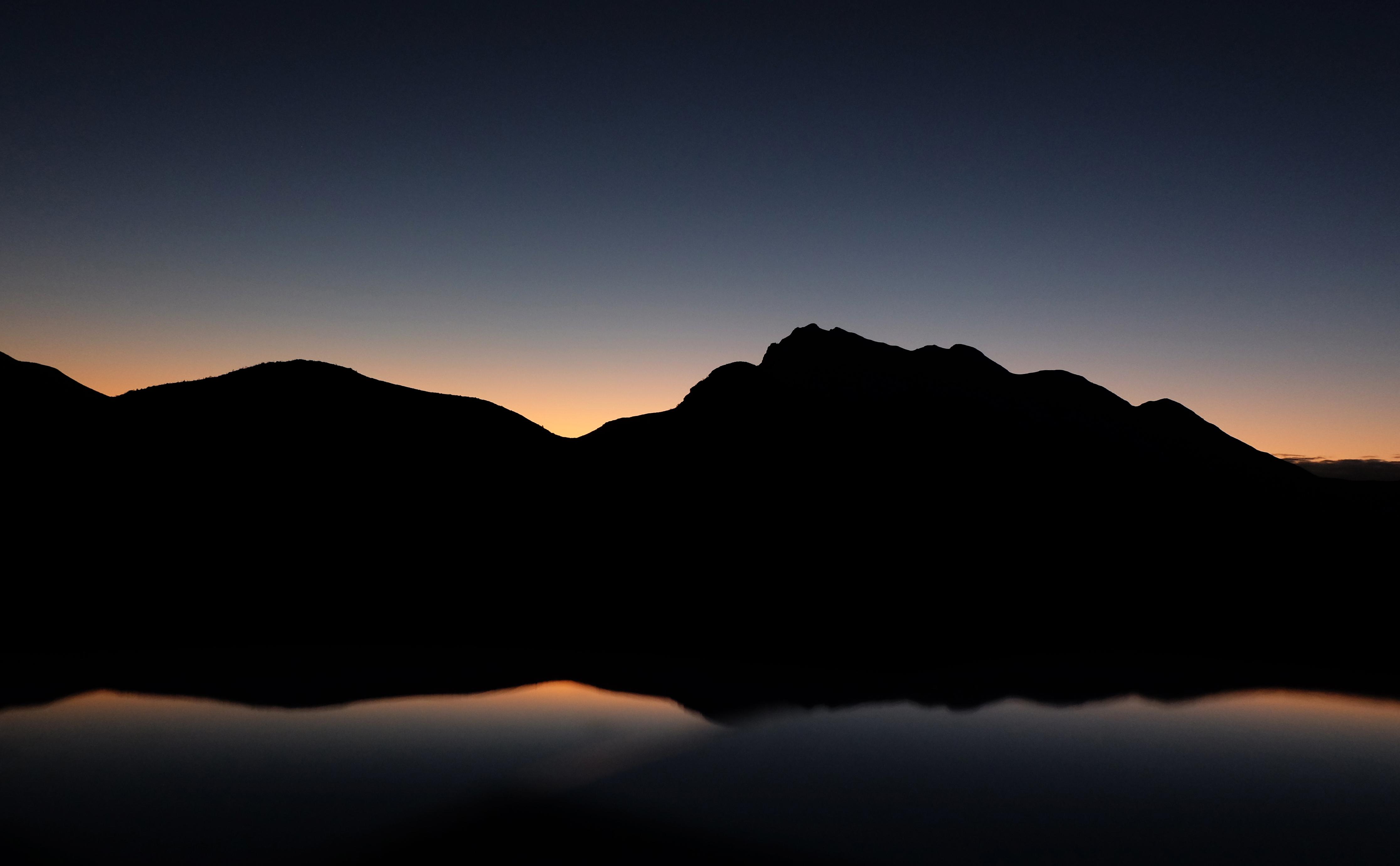 wallpaper mountains dark sunset night hill