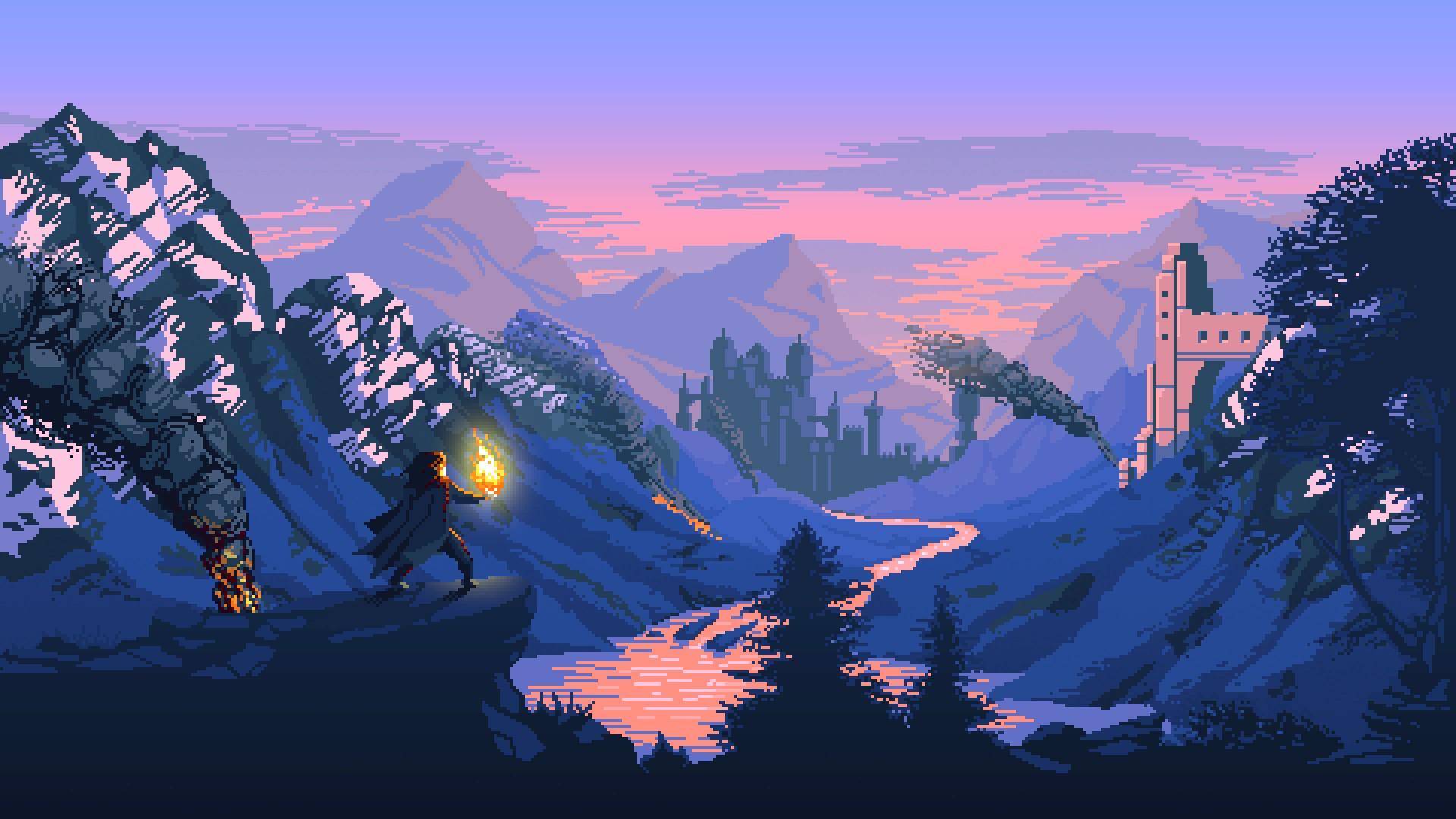 Mountains Digital Art Fantasy Pixel Castle Wilderness Alps Terrain Mountain Screenshot Computer Wallpaper Mountainous