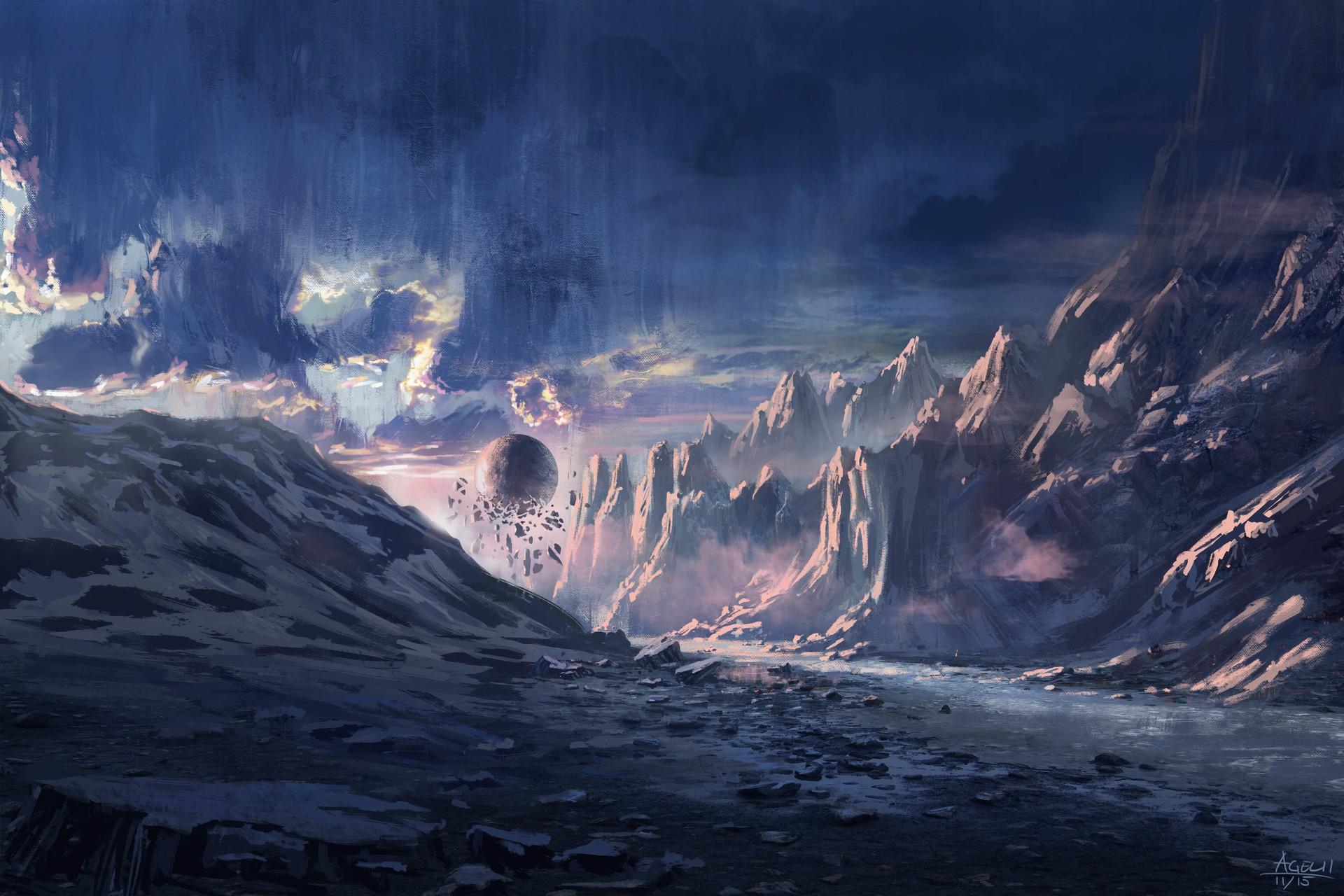Wallpaper Mountains Digital Art Fantasy Art Snow