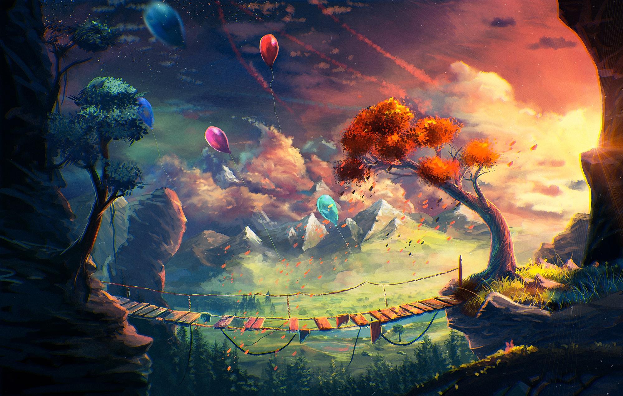 Mountains Fantasy Art Anime Artwork Clouds Bridge Balloon Sylar Screenshot Computer Wallpaper