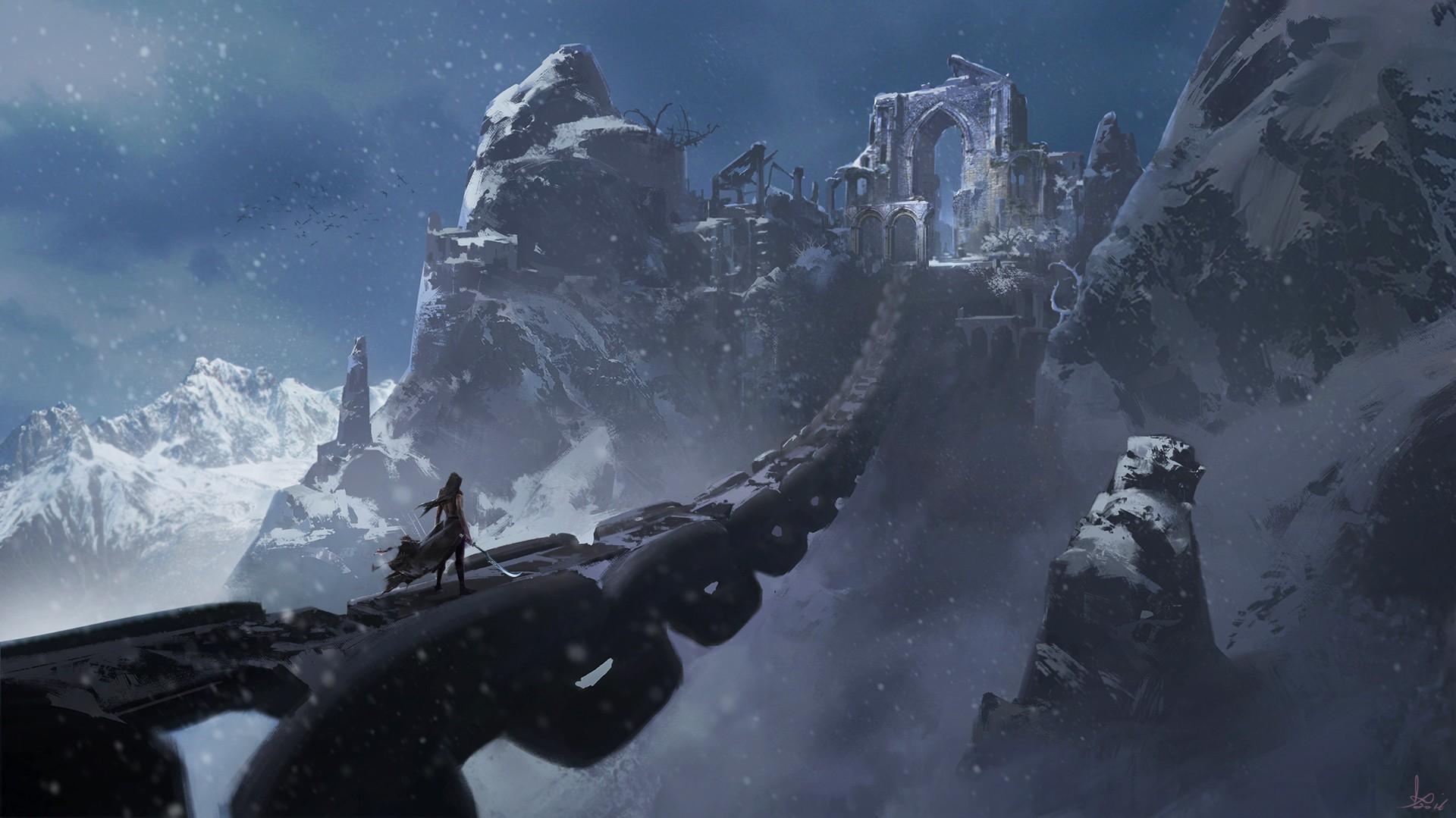 Wonderful Wallpaper Mountain Fantasy - mountains-fantasy-art-snow-sword-chains-Terrain-mountain-screenshot-computer-wallpaper-geological-phenomenon-mountain-range-extreme-sport-44237  Collection_88269.jpg