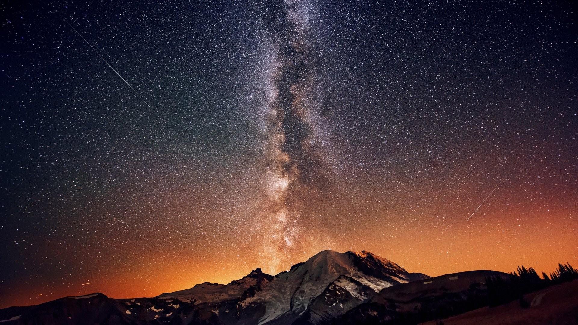 Milky way night sky mountains