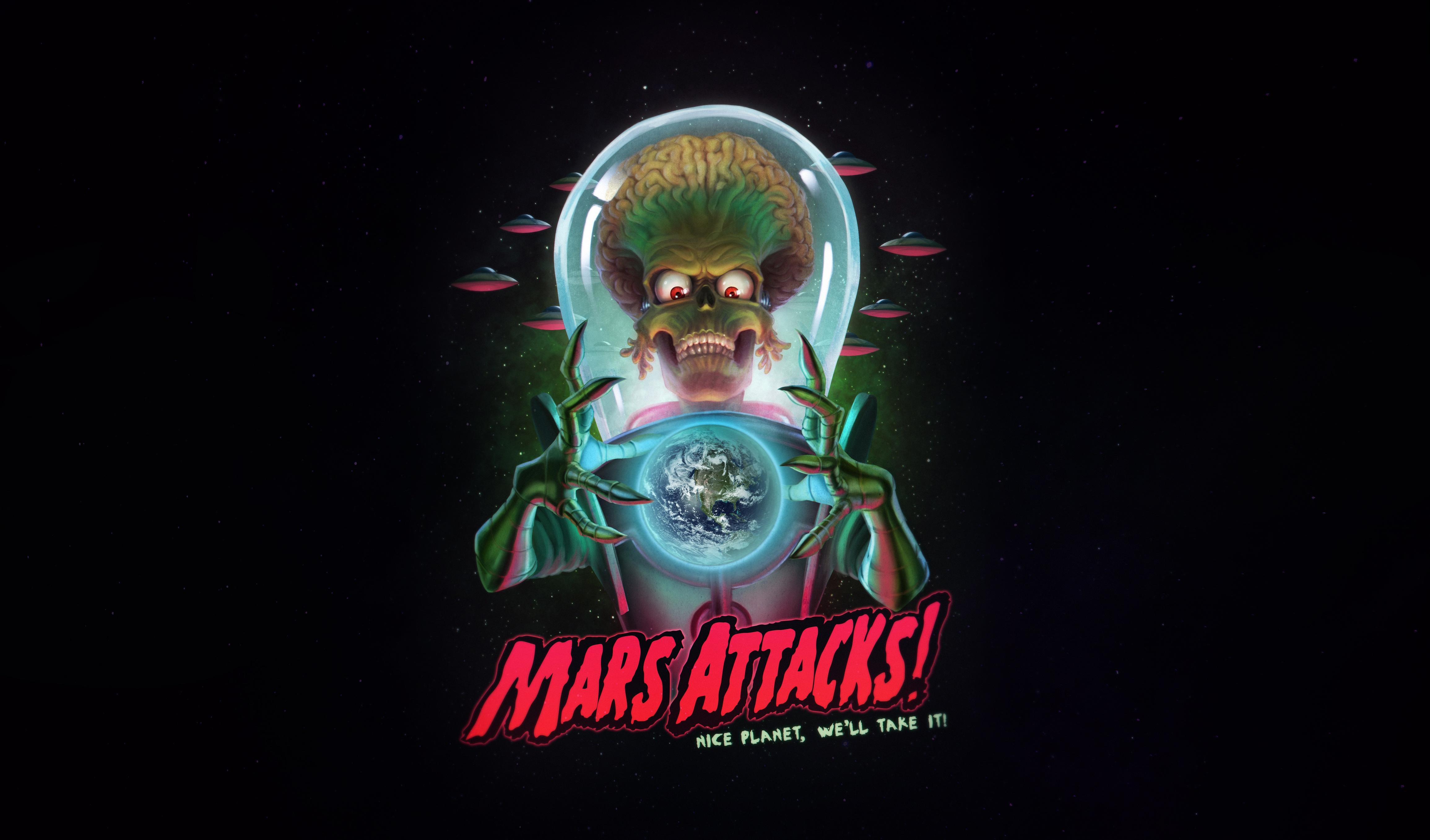 Wallpaper Movies Mars Attacks Humor Science Fiction