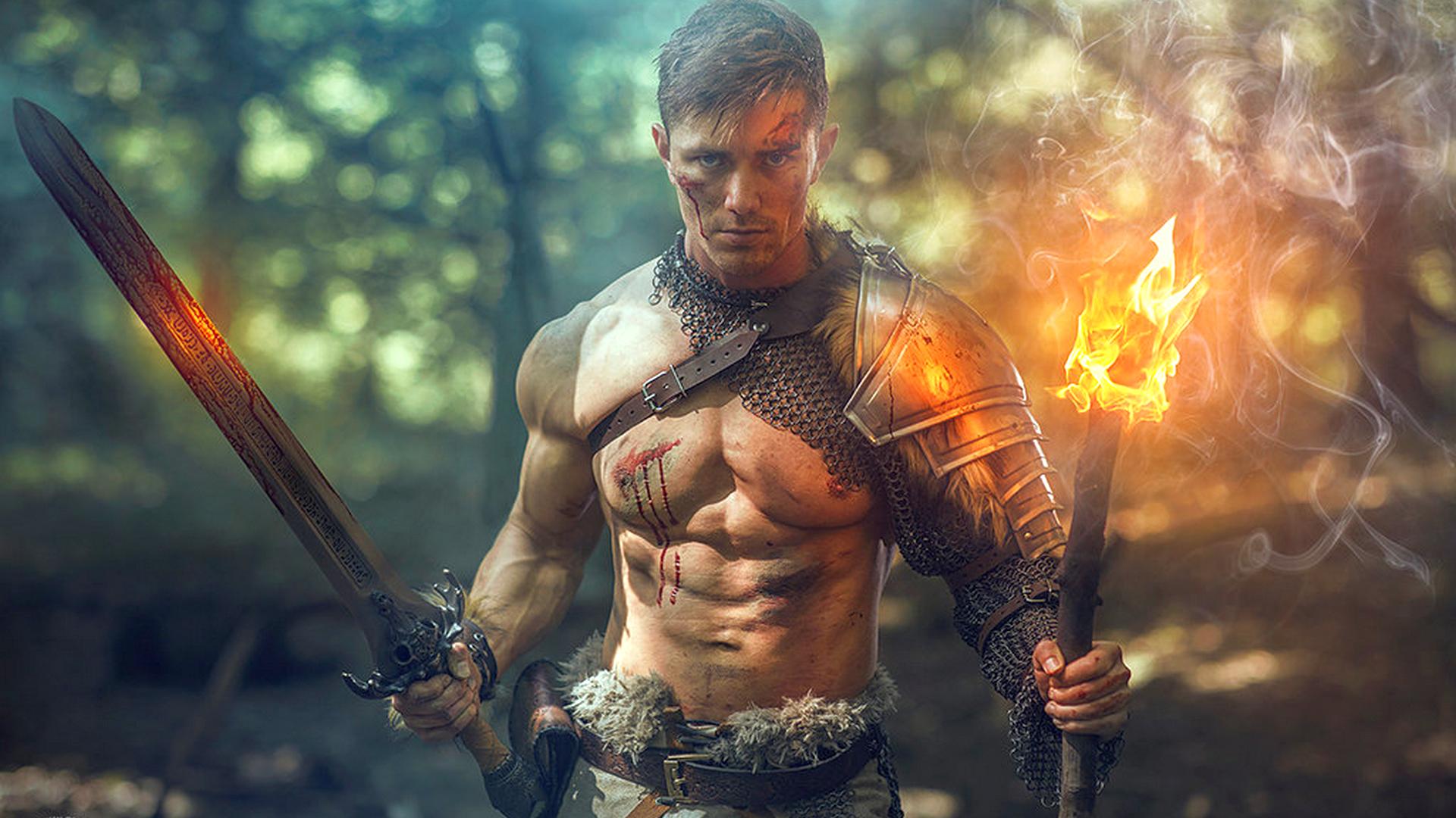 Wallpaper Muscles Muscular Biceps 6 Pack Abs Model Warrior