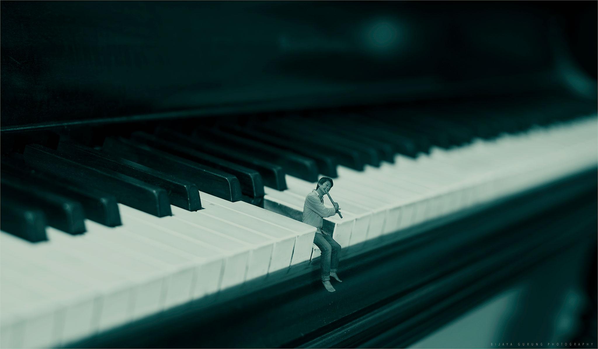 Wallpaper Music Photoshop Miniature Keyboard Piano Flute Canon6d Photomannipulation 2048x1195 937814 Hd Wallpapers Wallhere