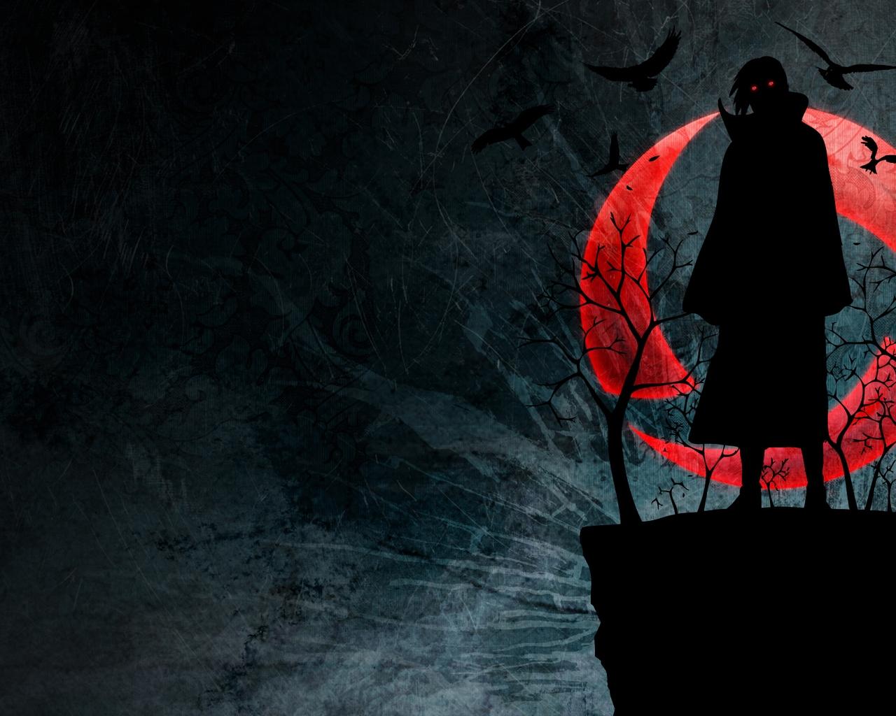 Wallpaper Naruto Uchiha Itachi Sharingan Figure Night Red