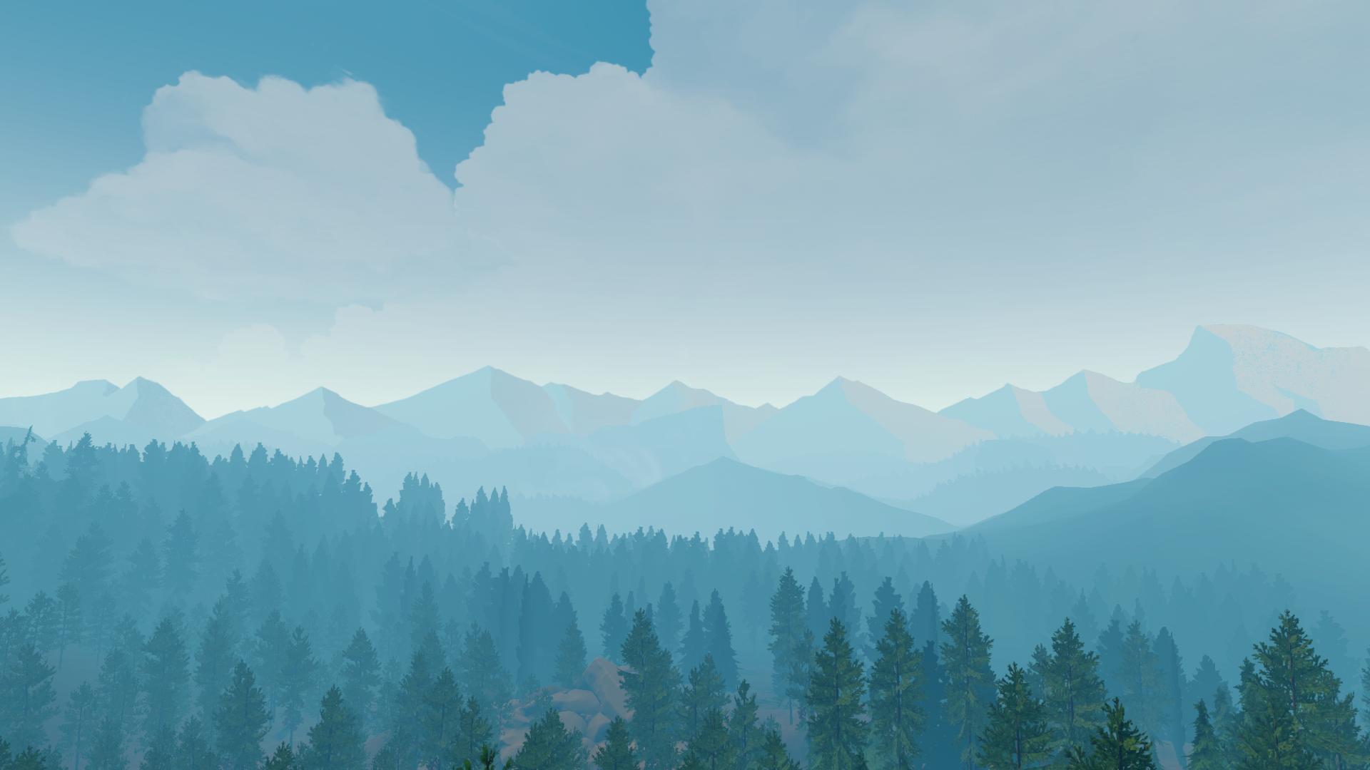 Wallpaper Nature Firewatch Video Games Video Game Art Blue
