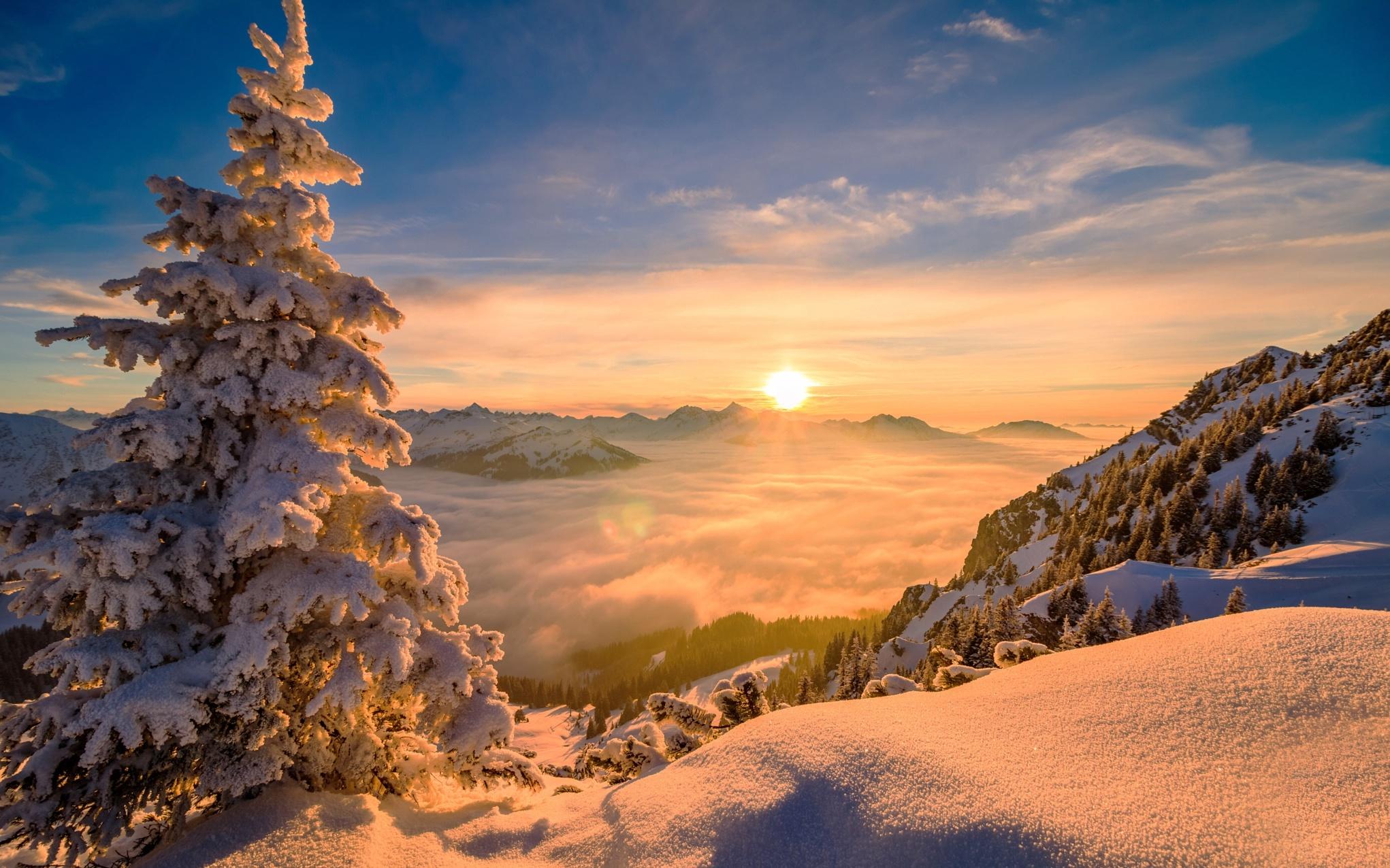 самые фото солнце в снежных горах начнем