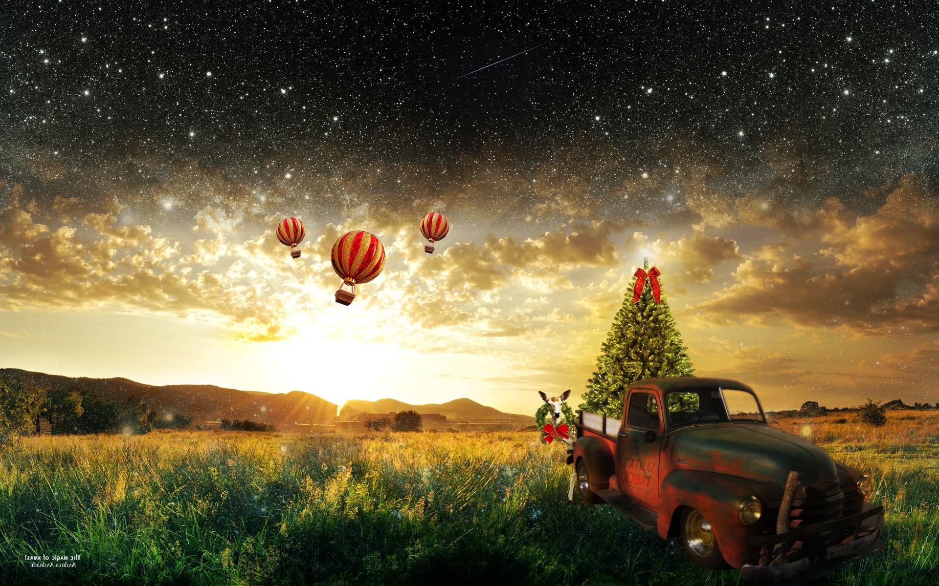 Nature Car Sky Snow DeviantArt Stars Morning Hot Air Balloons Sun Rays Christmas Tree Trucks