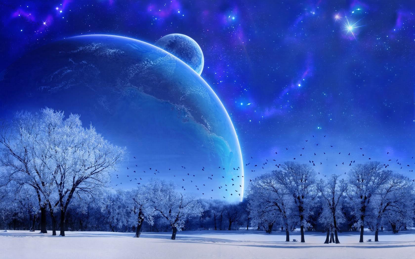 Wallpaper Nature Landscape Winter Sky Snow Full Moon