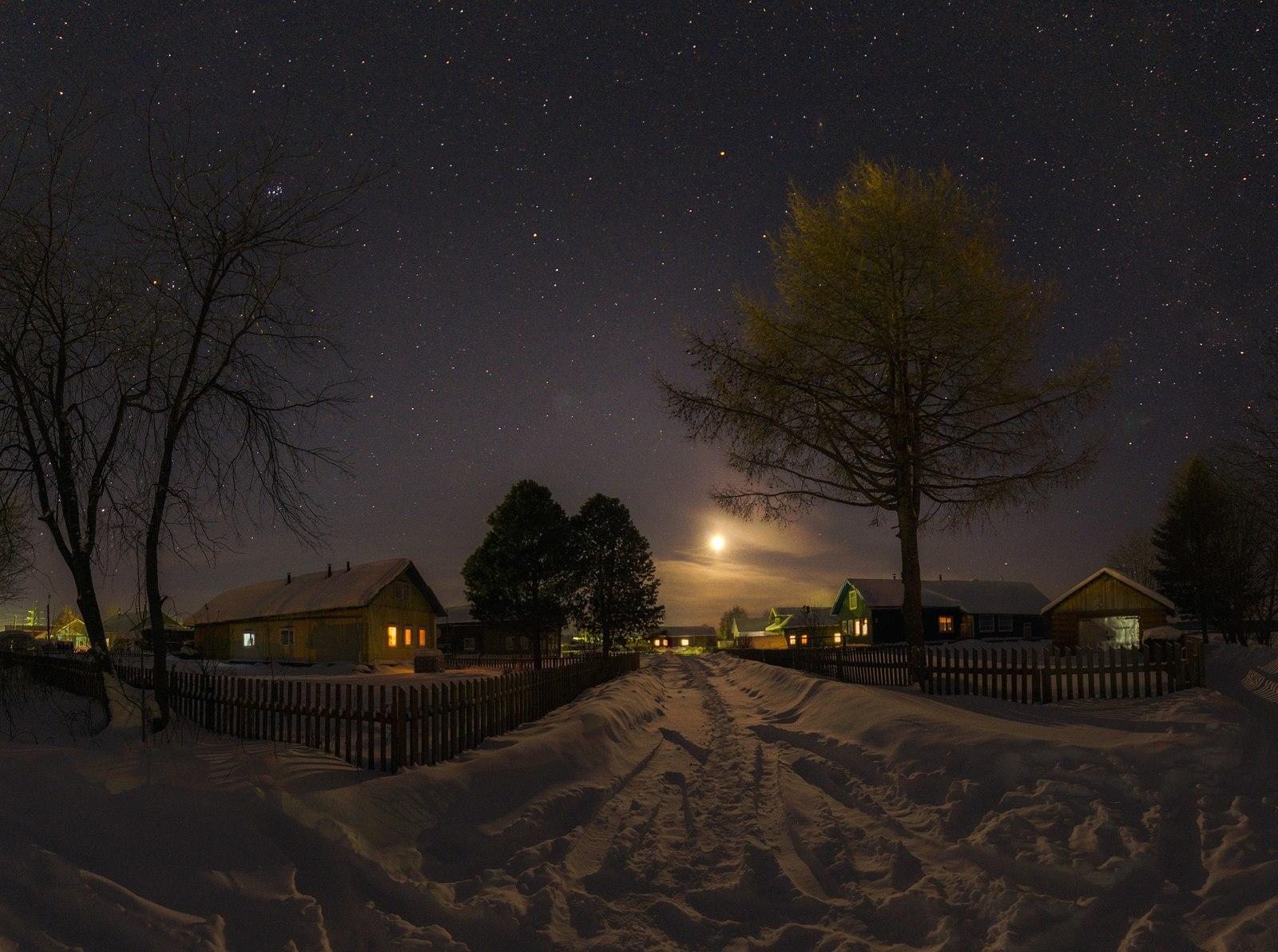 Картинки ночной пейзаж сел
