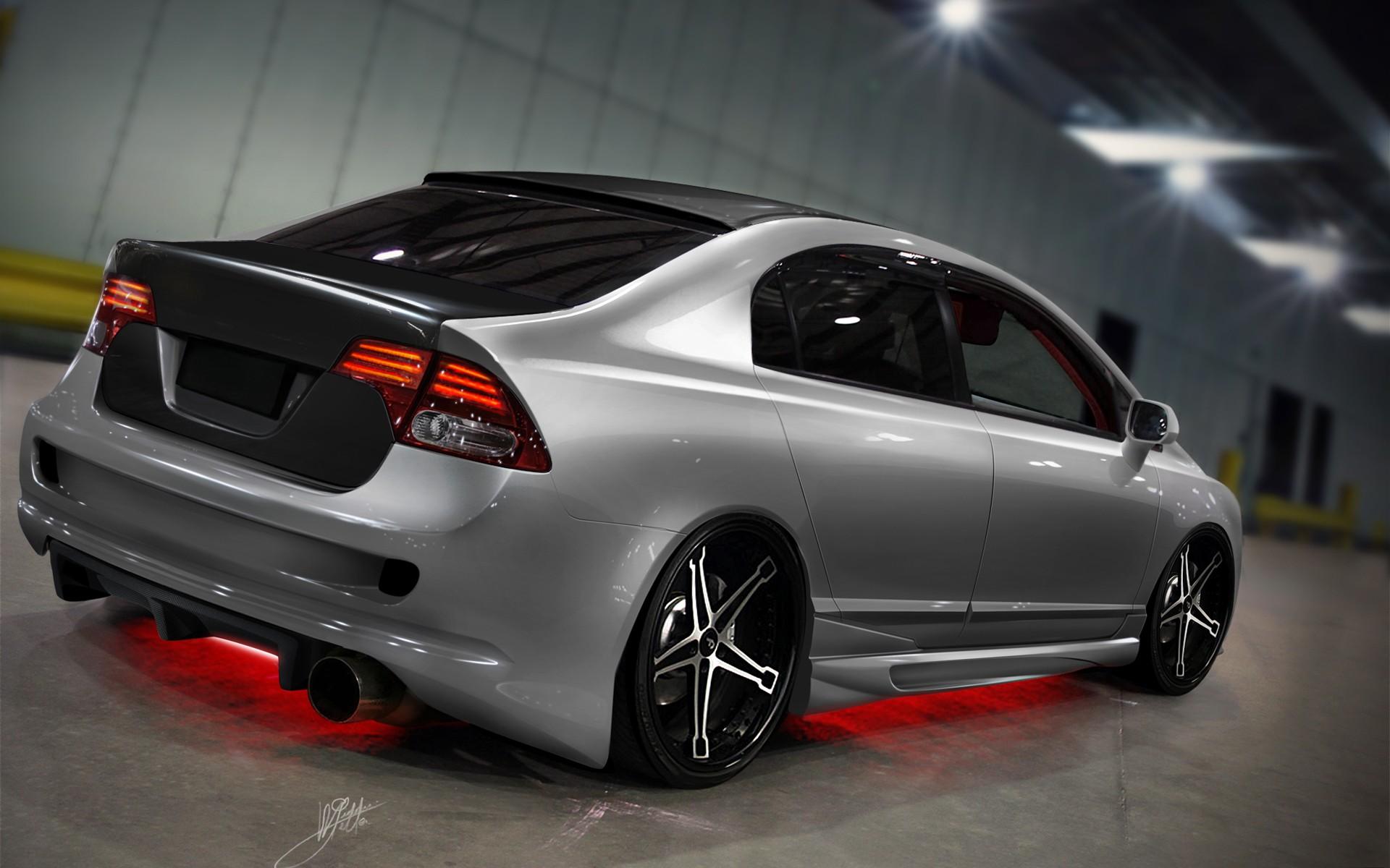 Wallpaper Neon Honda Civic Tuning Type R Sedan Wheel Rim 1920x1200 Px Light Land Vehicle Automotive Design Exterior