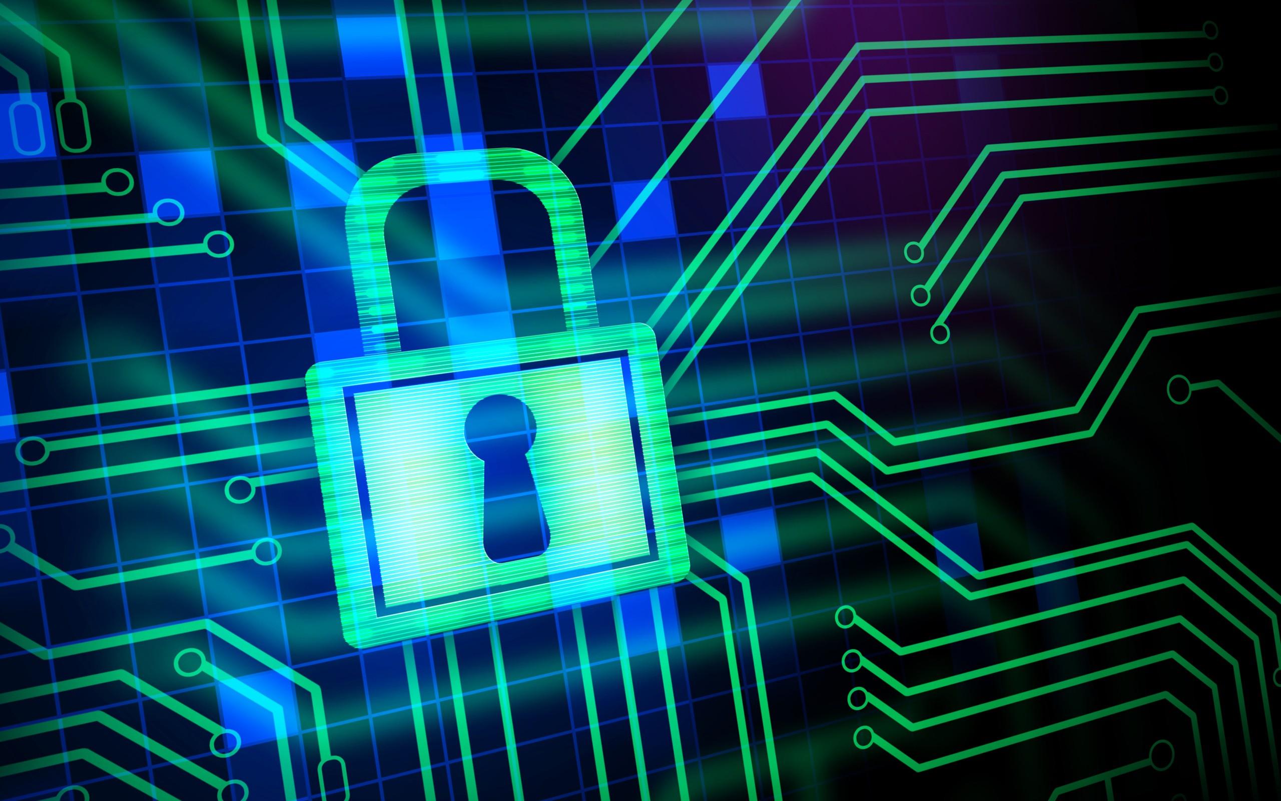 Wallpaper Neon Green Technology Padlock Laser Electricity
