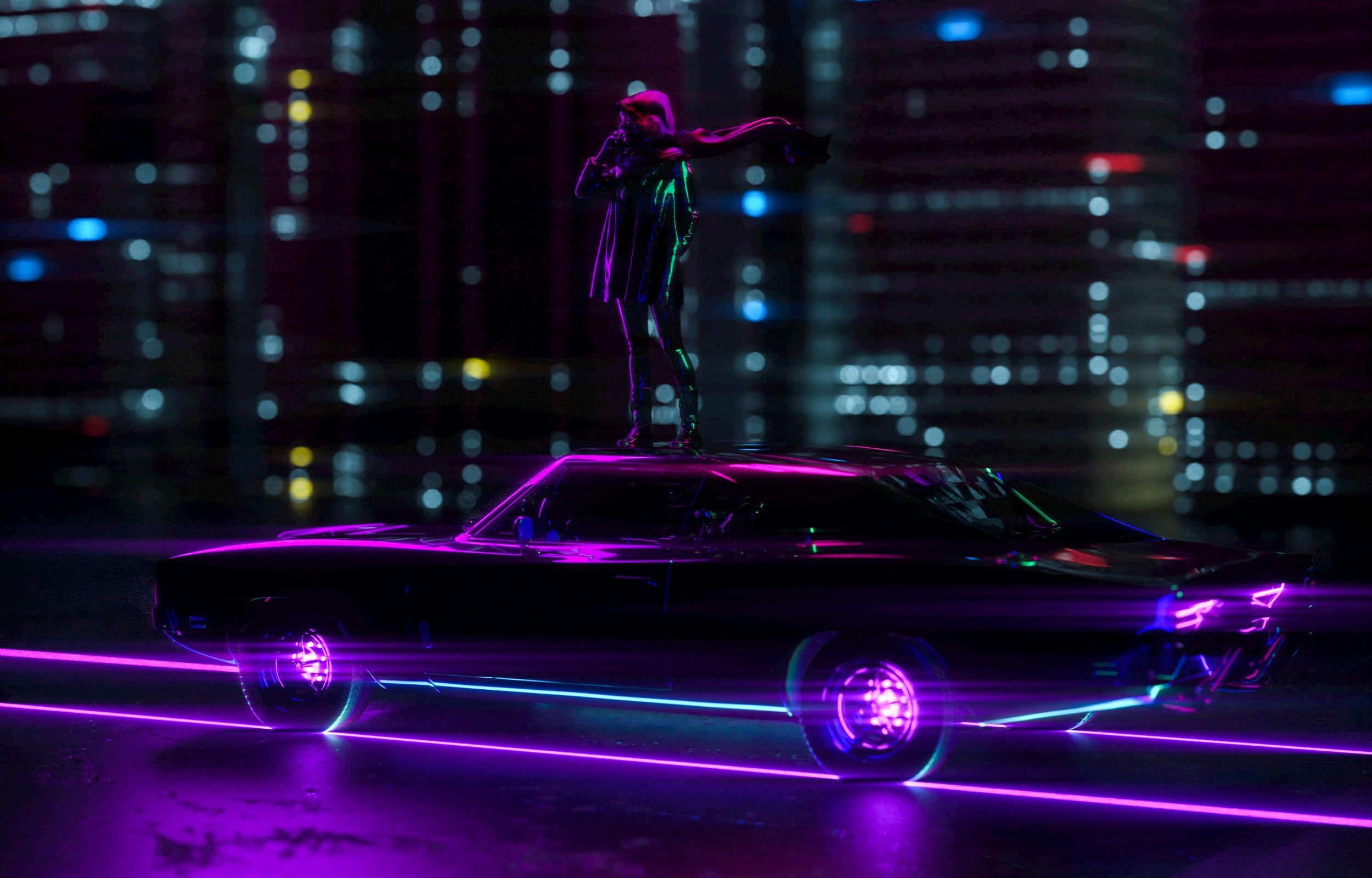 Wallpaper Neon Lights Digital Art Artwork Dark Car Vehicle