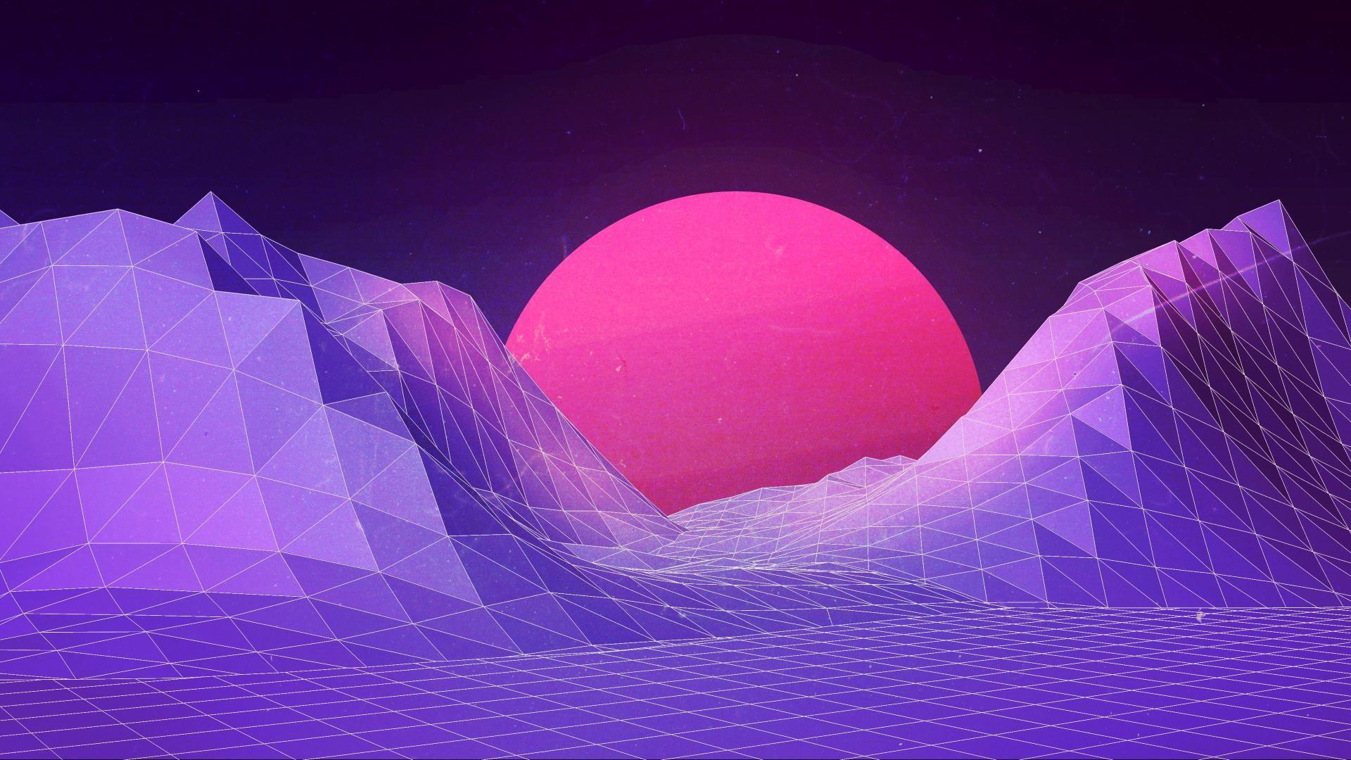 デスクトップ壁紙 ネオン 紫の 青 氷 新しいレトロウェーブ