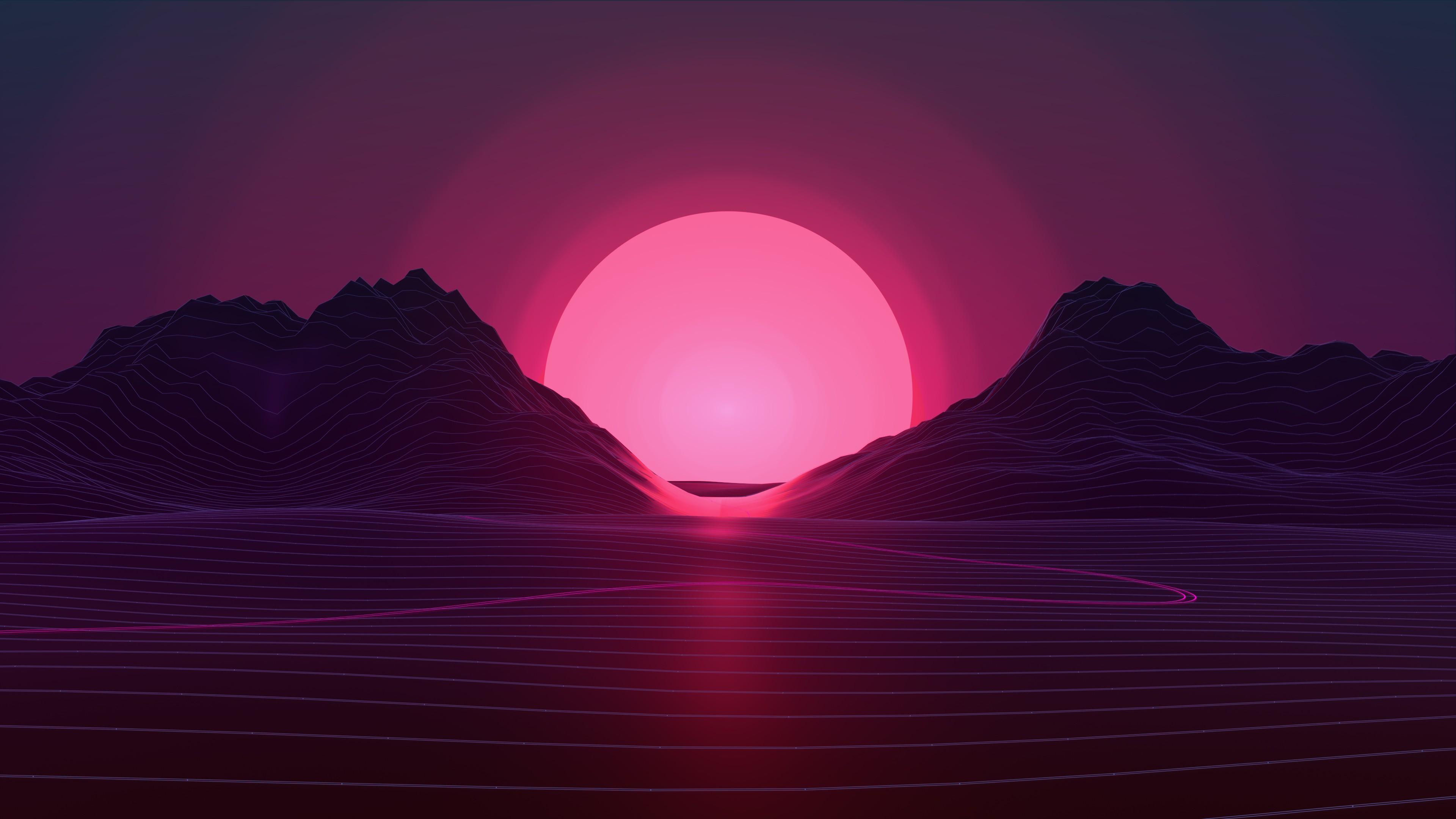 Wallpaper Neon Sunset Retro Style 3840x2160 Youngscum