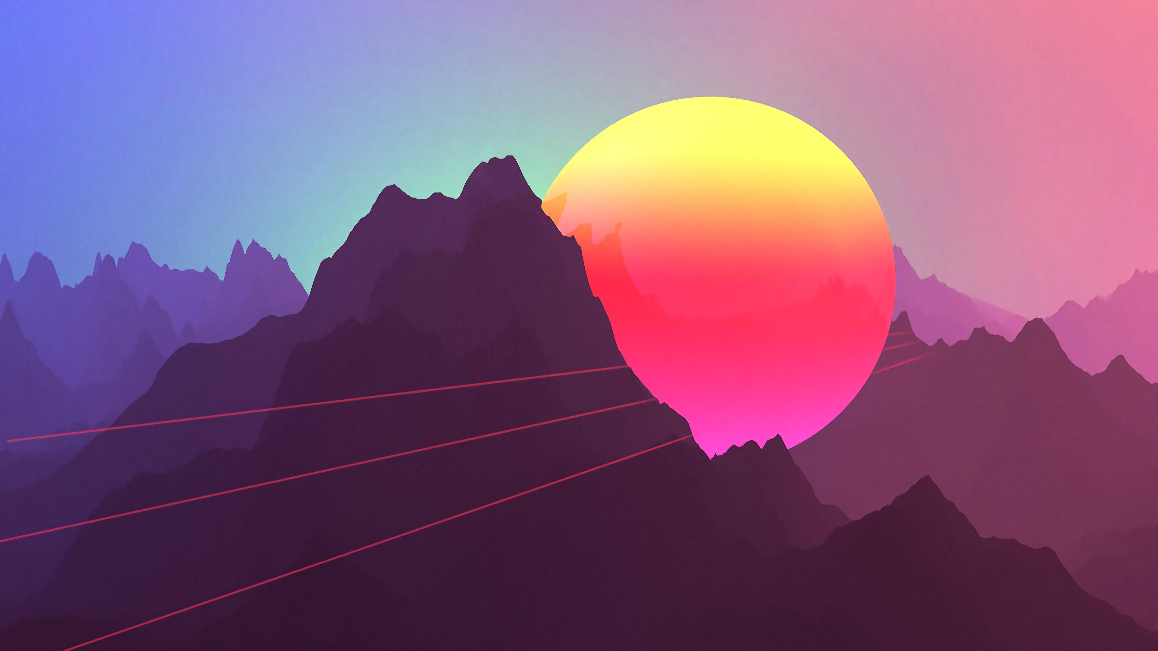 Wallpaper Neon Sunset Mountains Retro Style 3840x2160