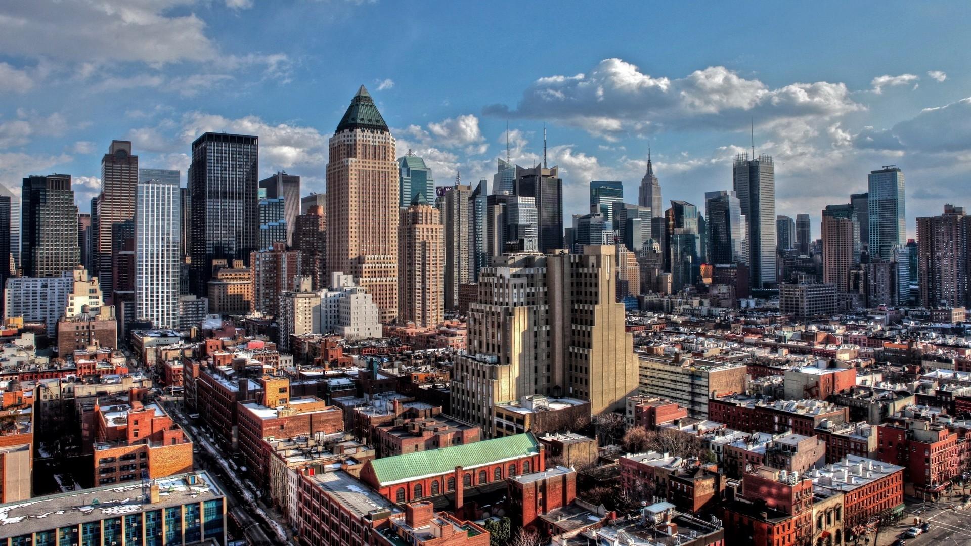 wallpaper : new york, manhattan, skyscrapers, hdr 1920x1080