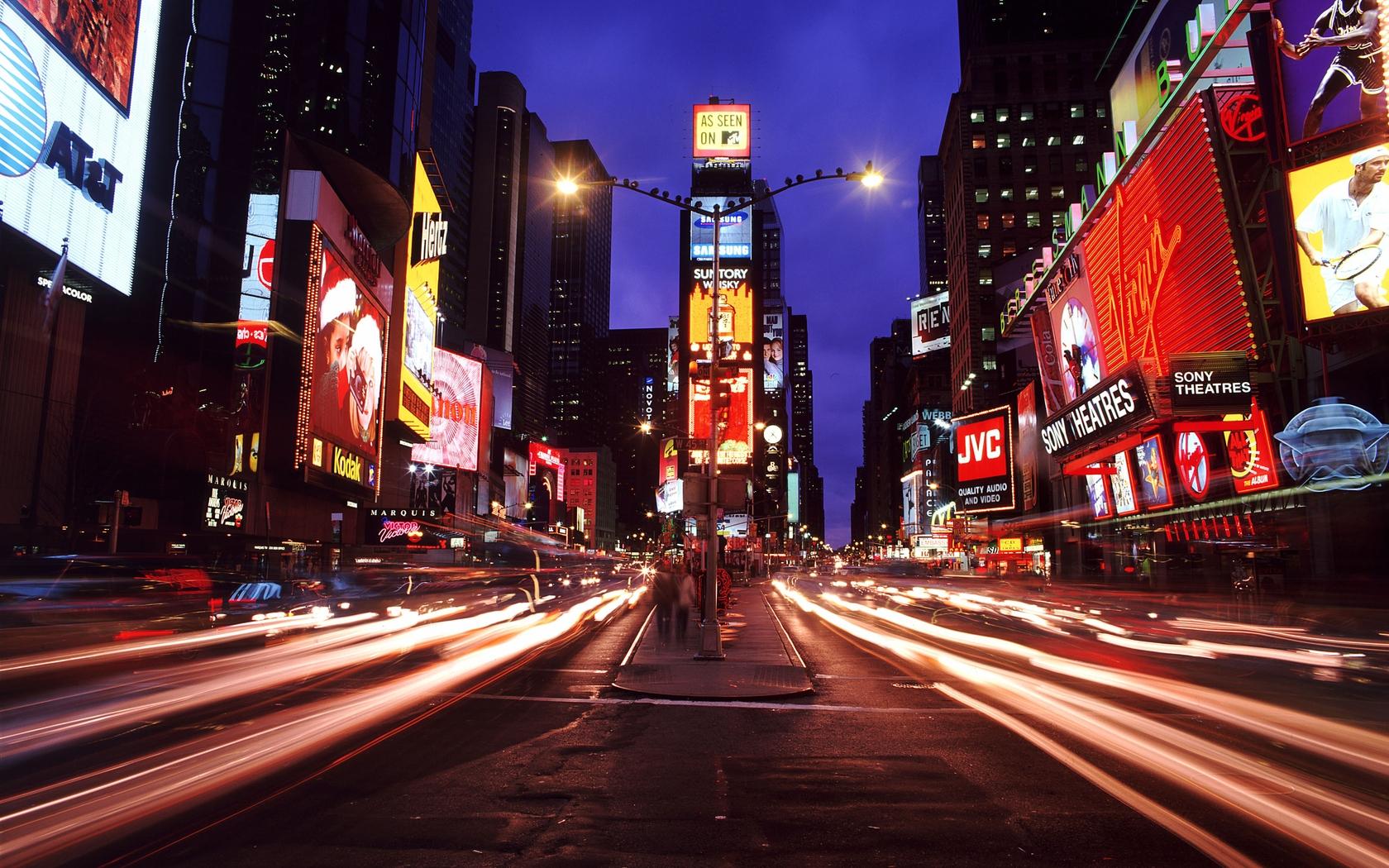 Wallpaper New York Times Square Night City Metropolis