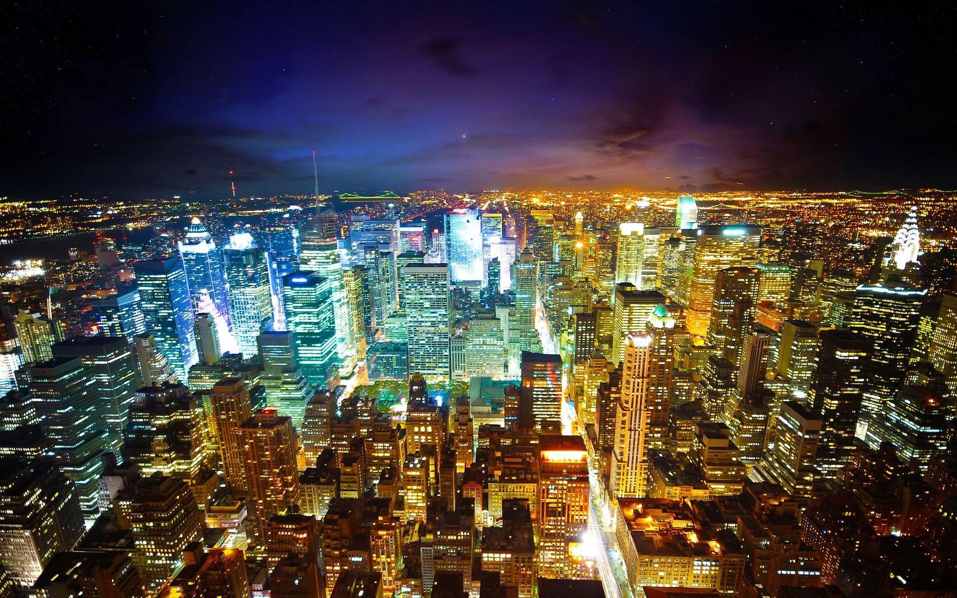 Fond Décran New York Nuit Grattes Ciels Vue De Dessus