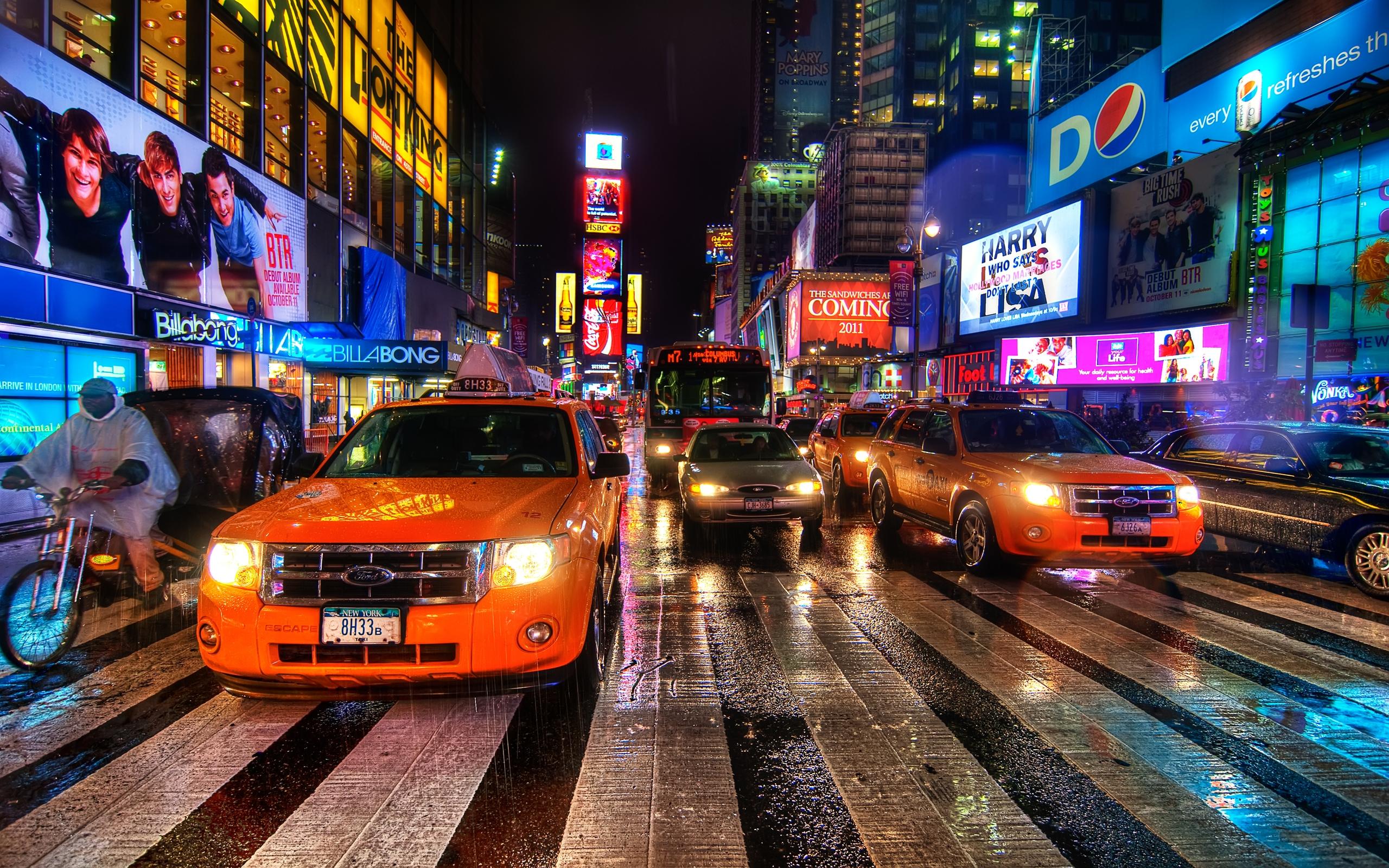 Fond Décran New York Nuit Taxi Passage Piéton