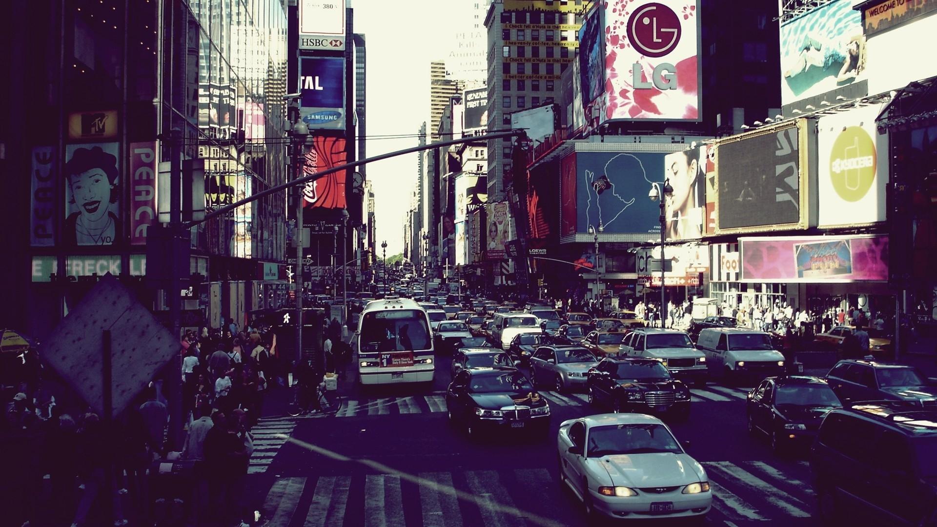 Wallpaper New York Street Cars City Movement Life
