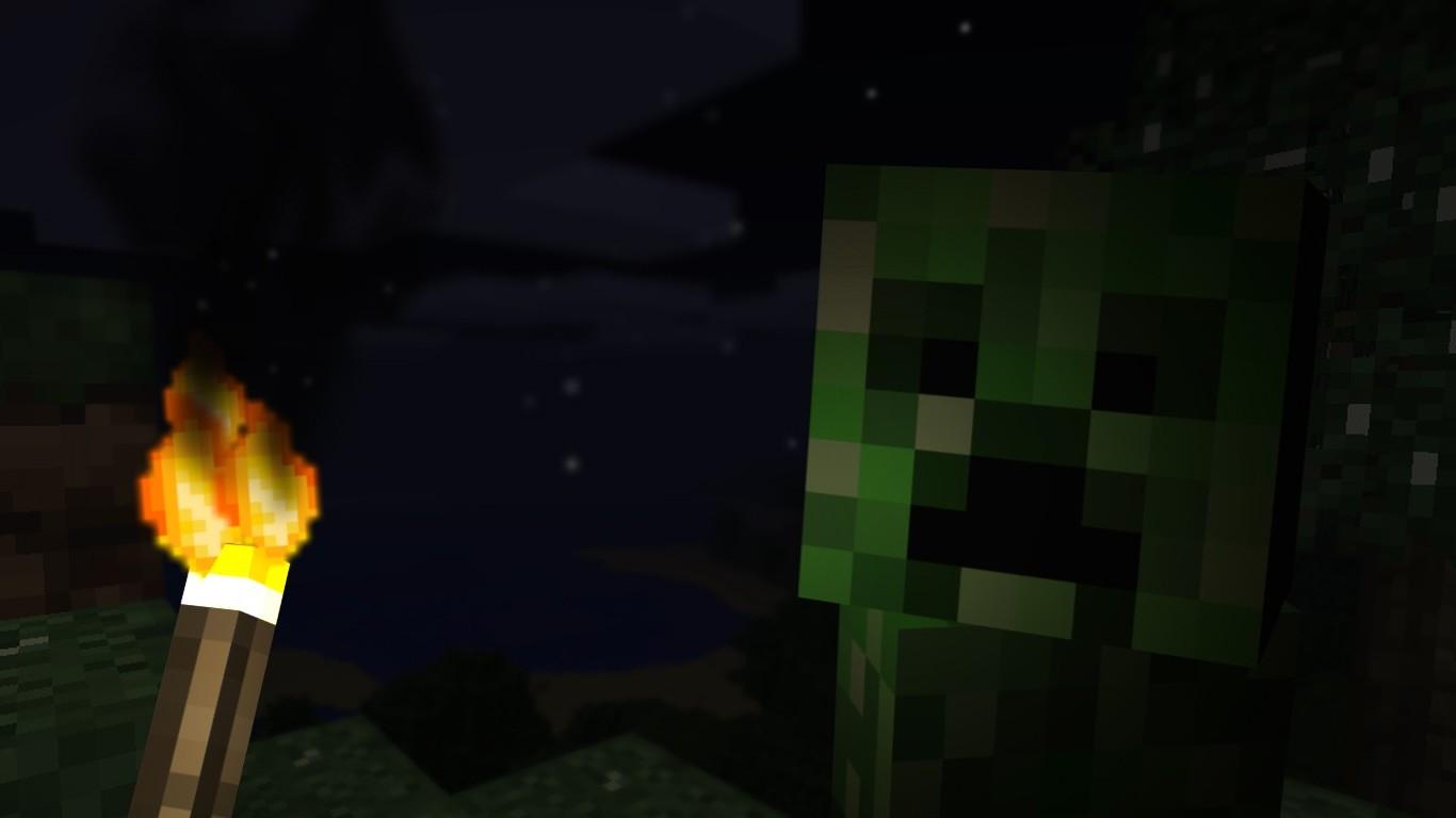 Wallpaper Night Minecraft Light Lighting Darkness Screenshot 1366x768 Px 1366x768 564957 Hd Wallpapers Wallhere
