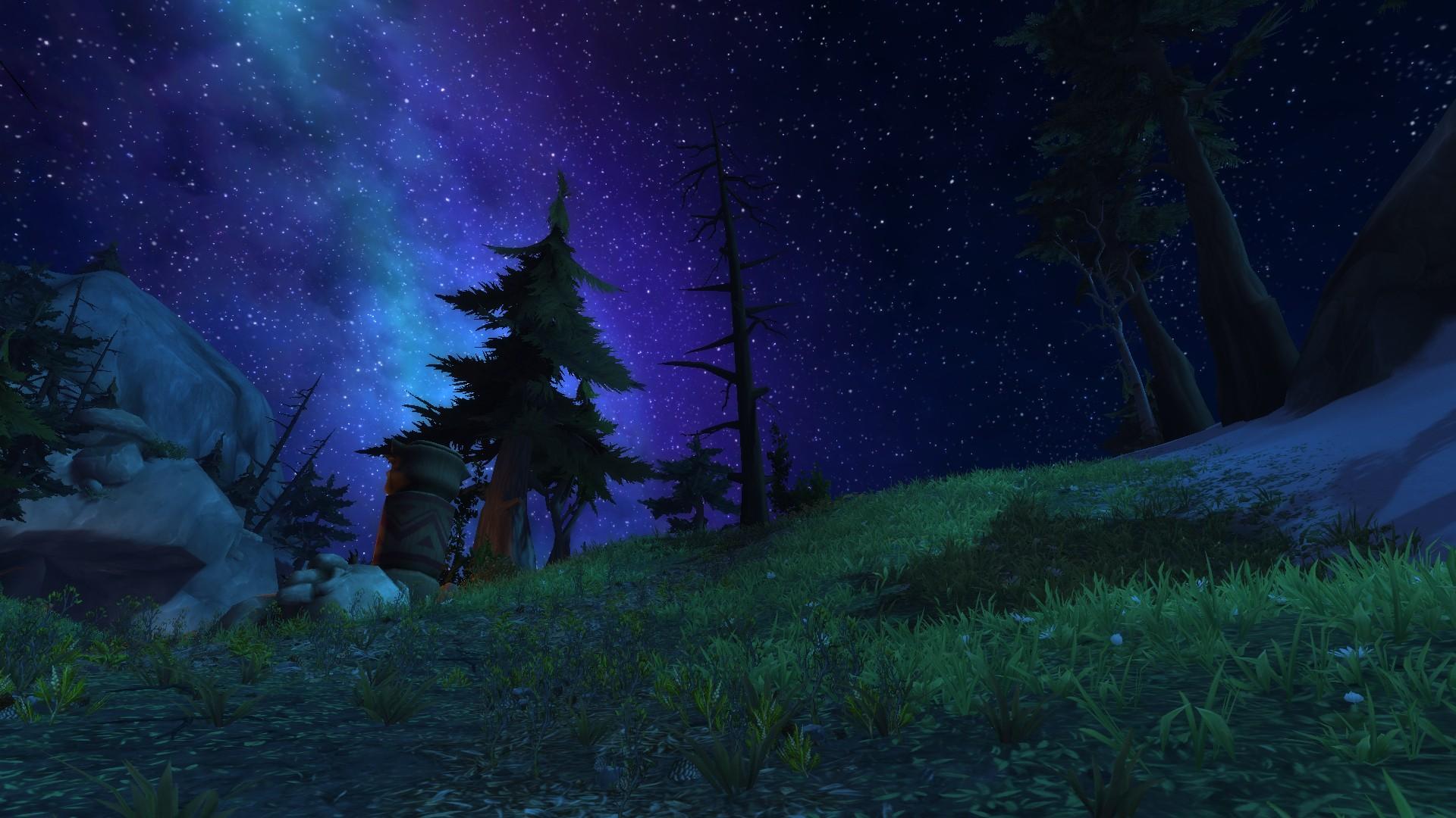 Wallpaper Night World Of Warcraft Legion Aurora Highmountain