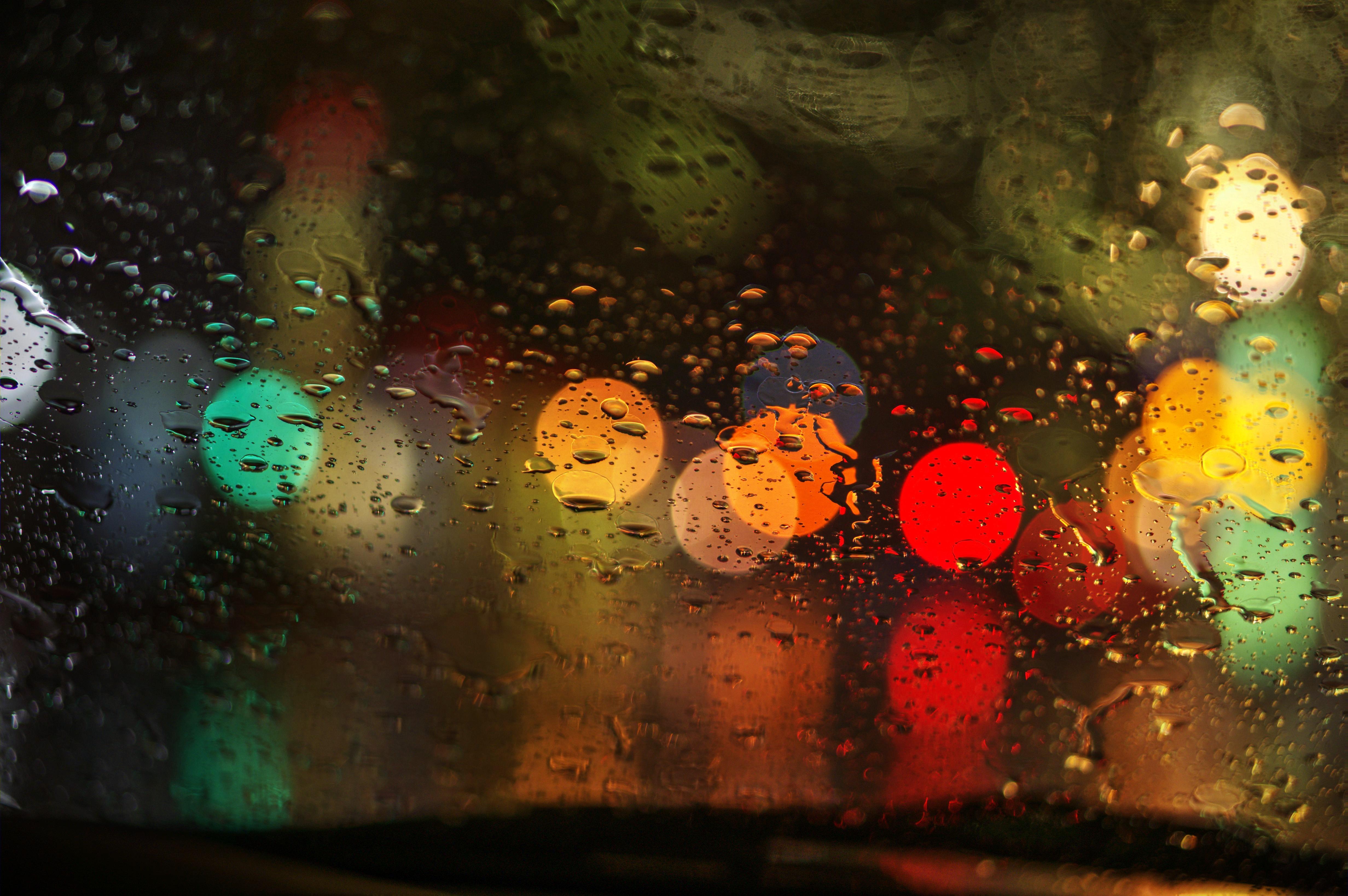 Wallpaper Night Abstract Water Reflection Rain Yellow