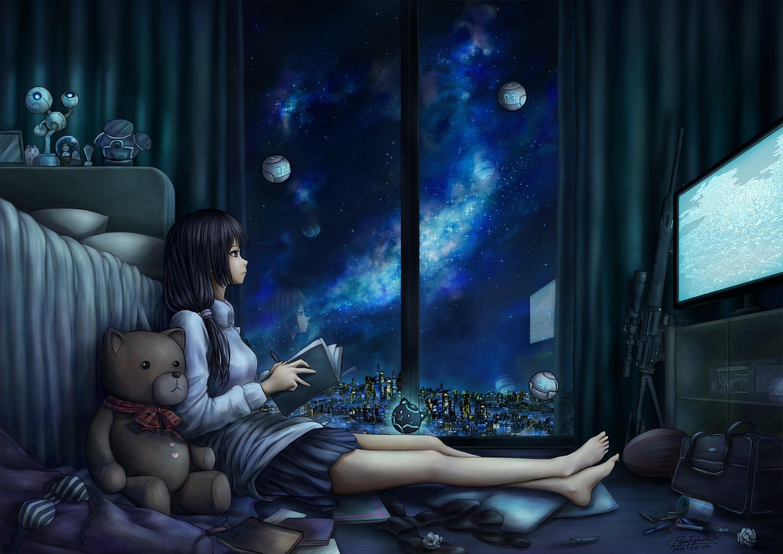 Wallpaper : anime girls, water, midnight, scene, girl
