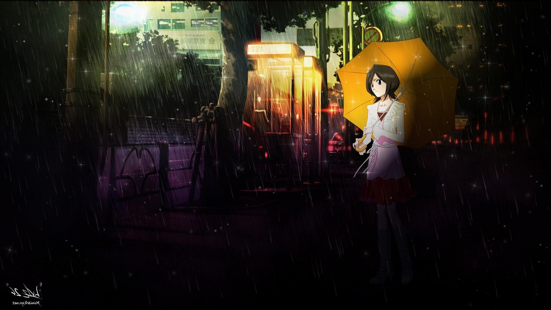 Sfondi notte anime girls pioggia ombrello candeggiare