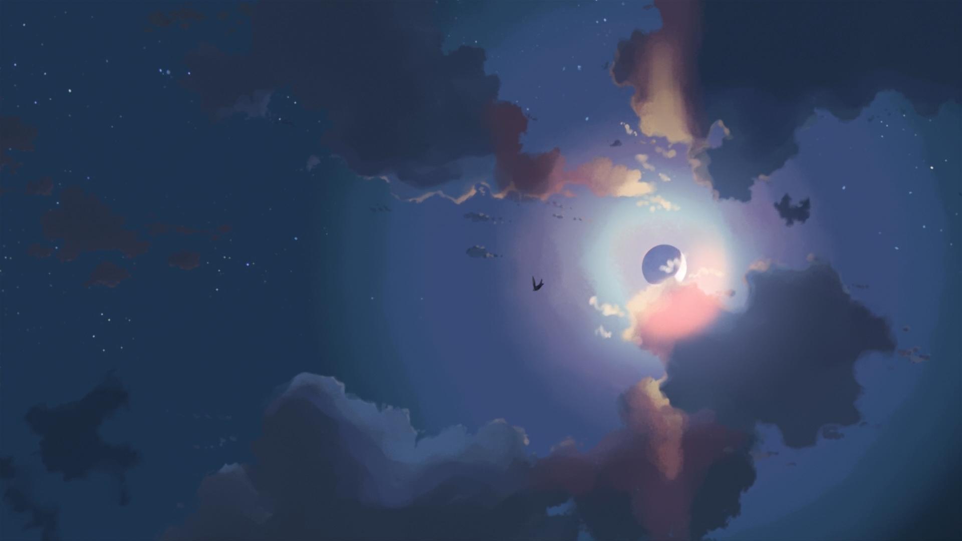 wallpaper : night, artwork, sky, moon, clouds 1920x1080 - mrbror2