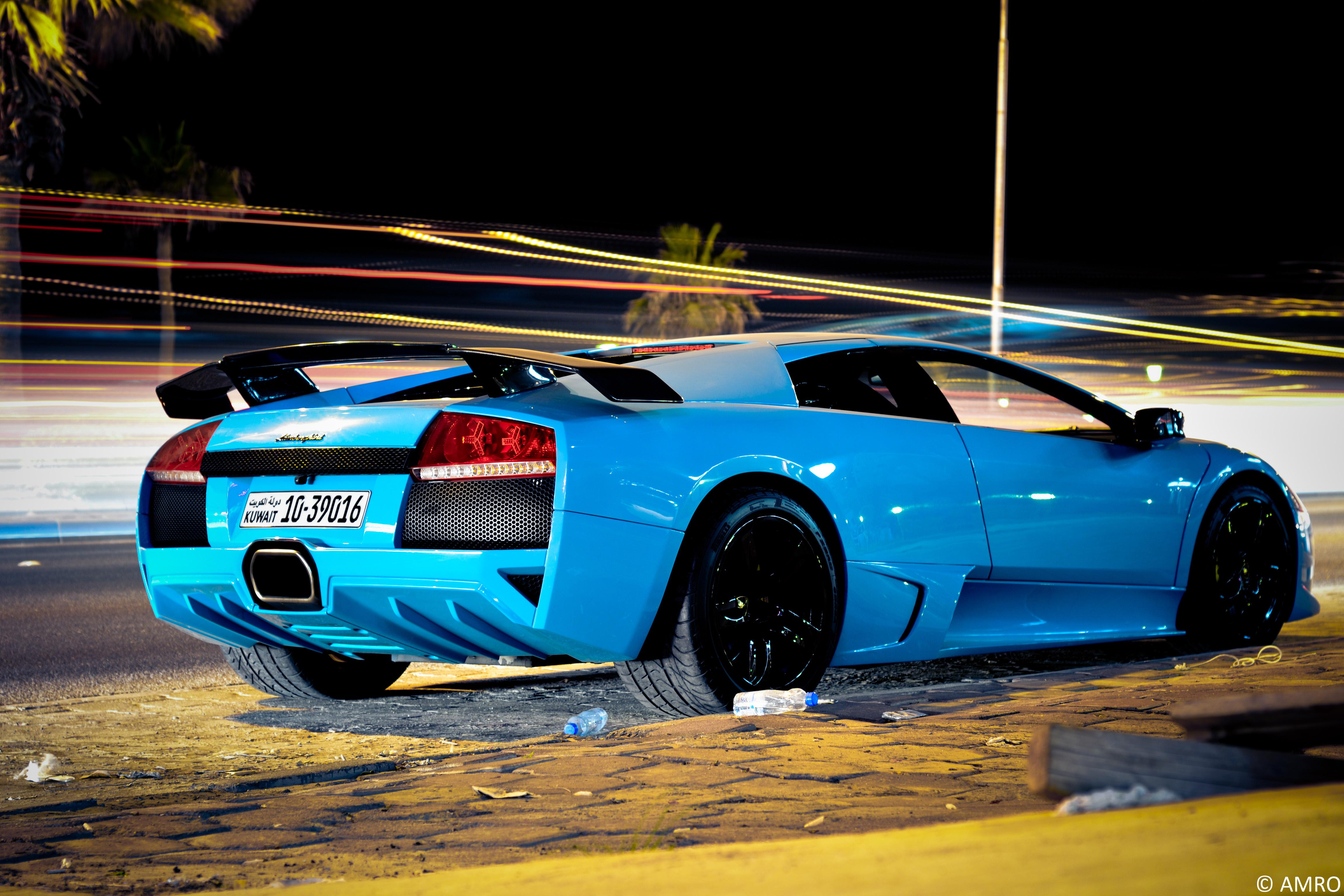 Papel De Parede Noite Carro Fotografia Azul Lamborghini