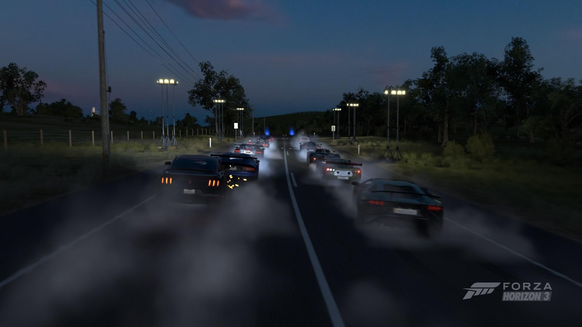 Fond Décran Nuit Véhicule Route Supercars Forza Horizon 3