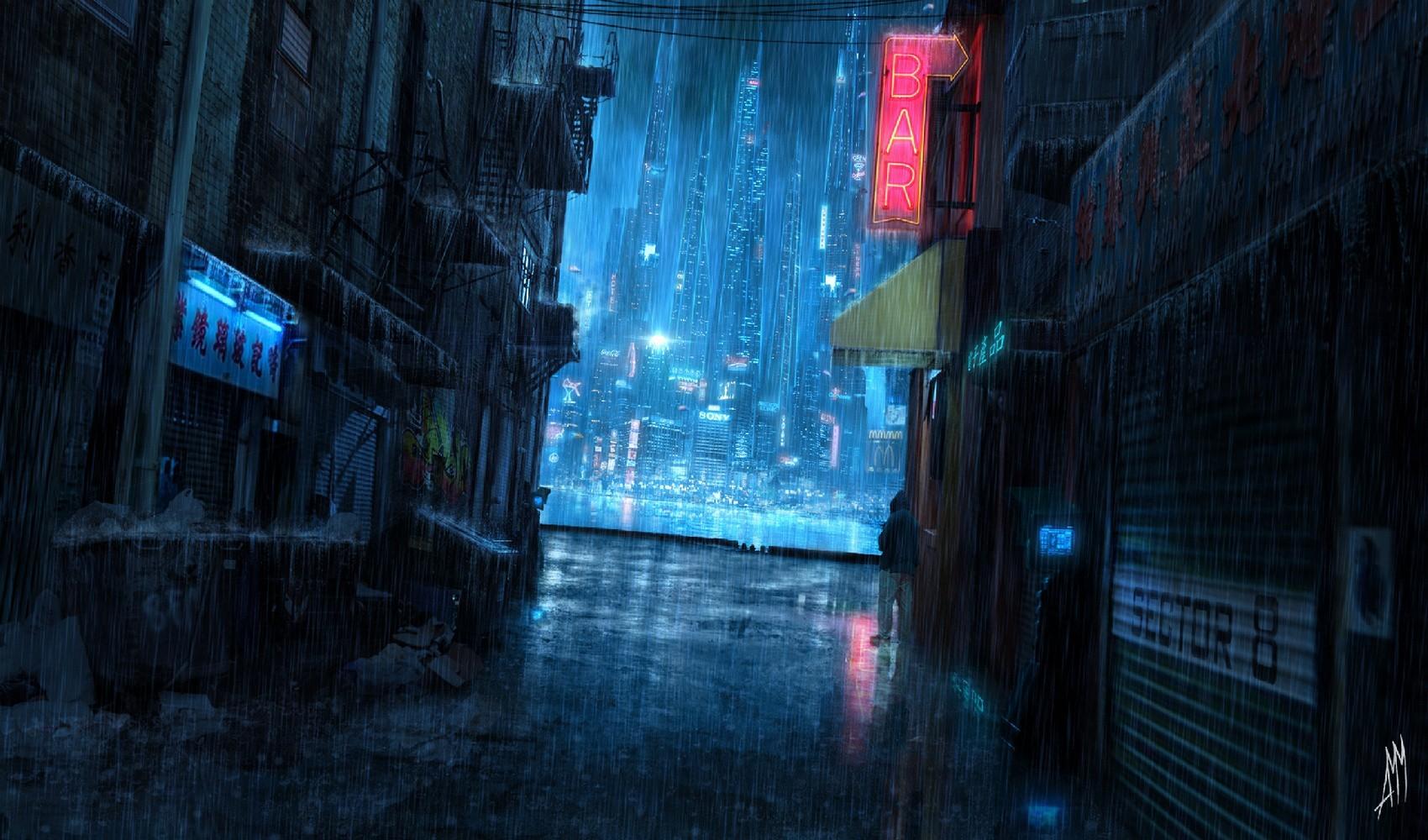 デスクトップ壁紙 サイバーパンク 反射 青 Sf 未来都市 真夜中