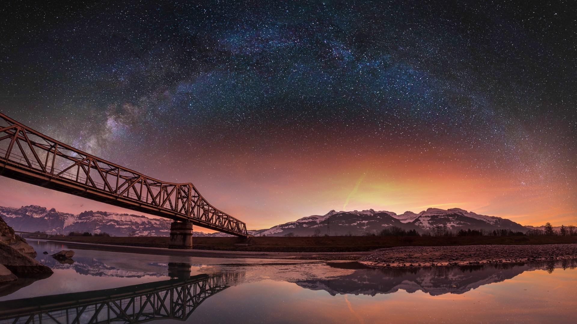 Good Wallpaper Night Evening - night-galaxy-lake-reflection-sky-stars-evening-Milky-Way-bridge-atmosphere-Switzerland-dusk-Aurora-dawn-star-1920x1080-px-astronomical-object-596947  Gallery-372774.jpg