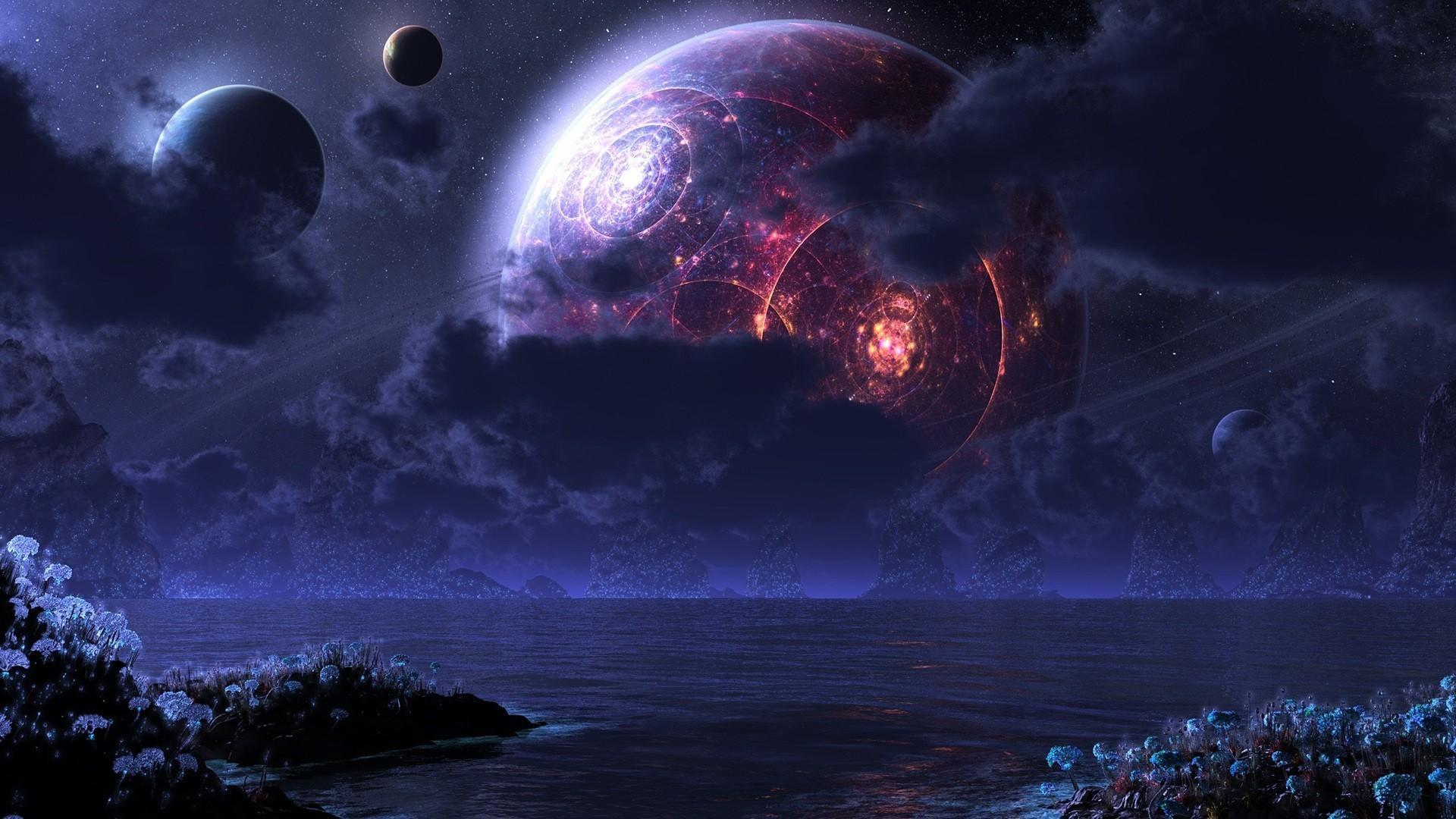 デスクトップ壁紙 銀河 惑星 スペース 地球 宇宙美術 月光