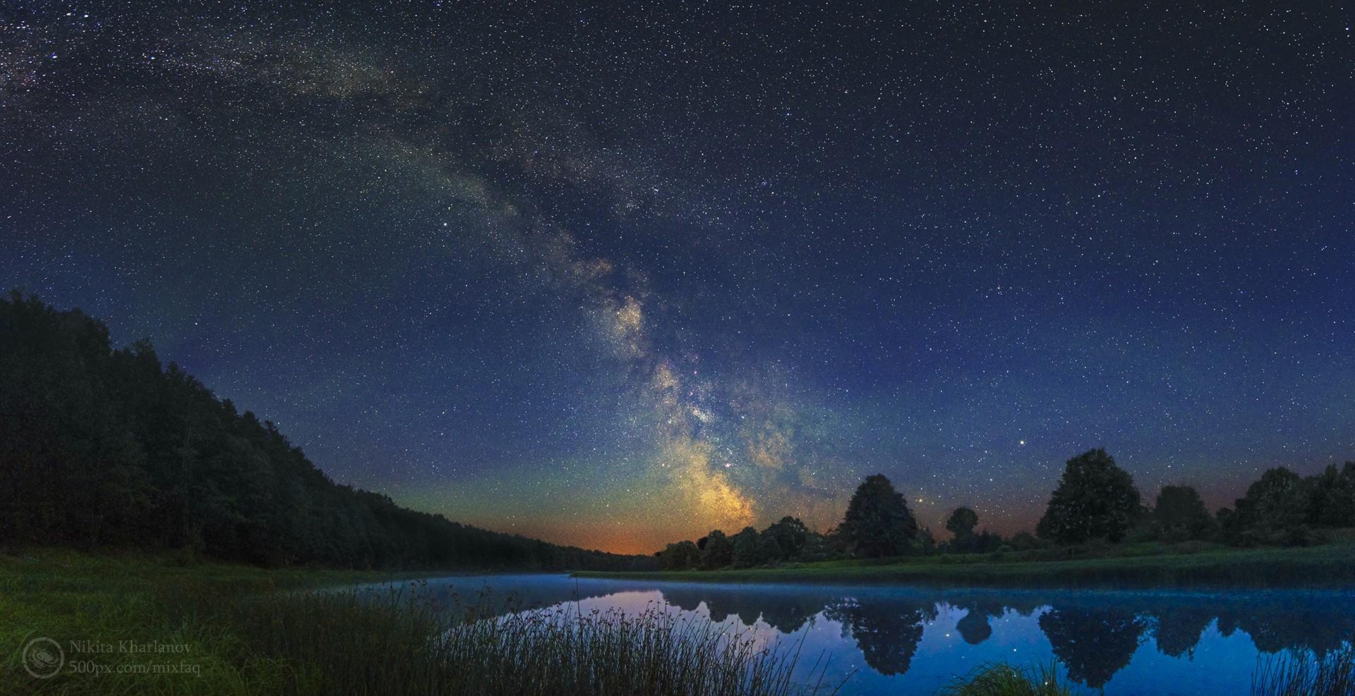 デスクトップ壁紙 銀河 スペース 反射 天の川 月光 夜空