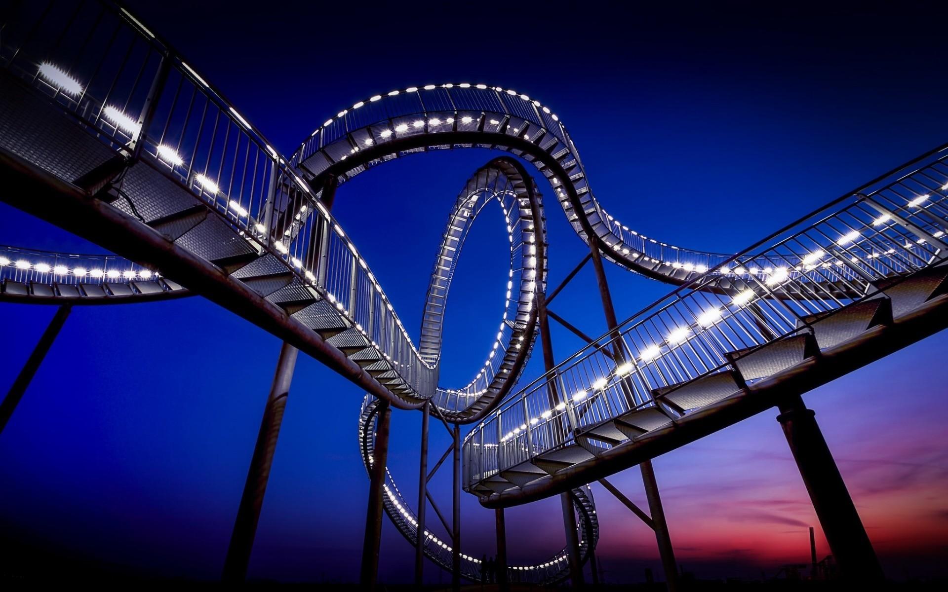 Обои Rollercoaster ride, ночь. Города foto 7