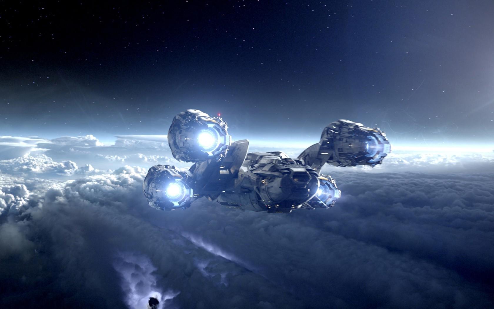 Wallpaper night planet vehicle earth spaceship - Spaceship wallpaper ...