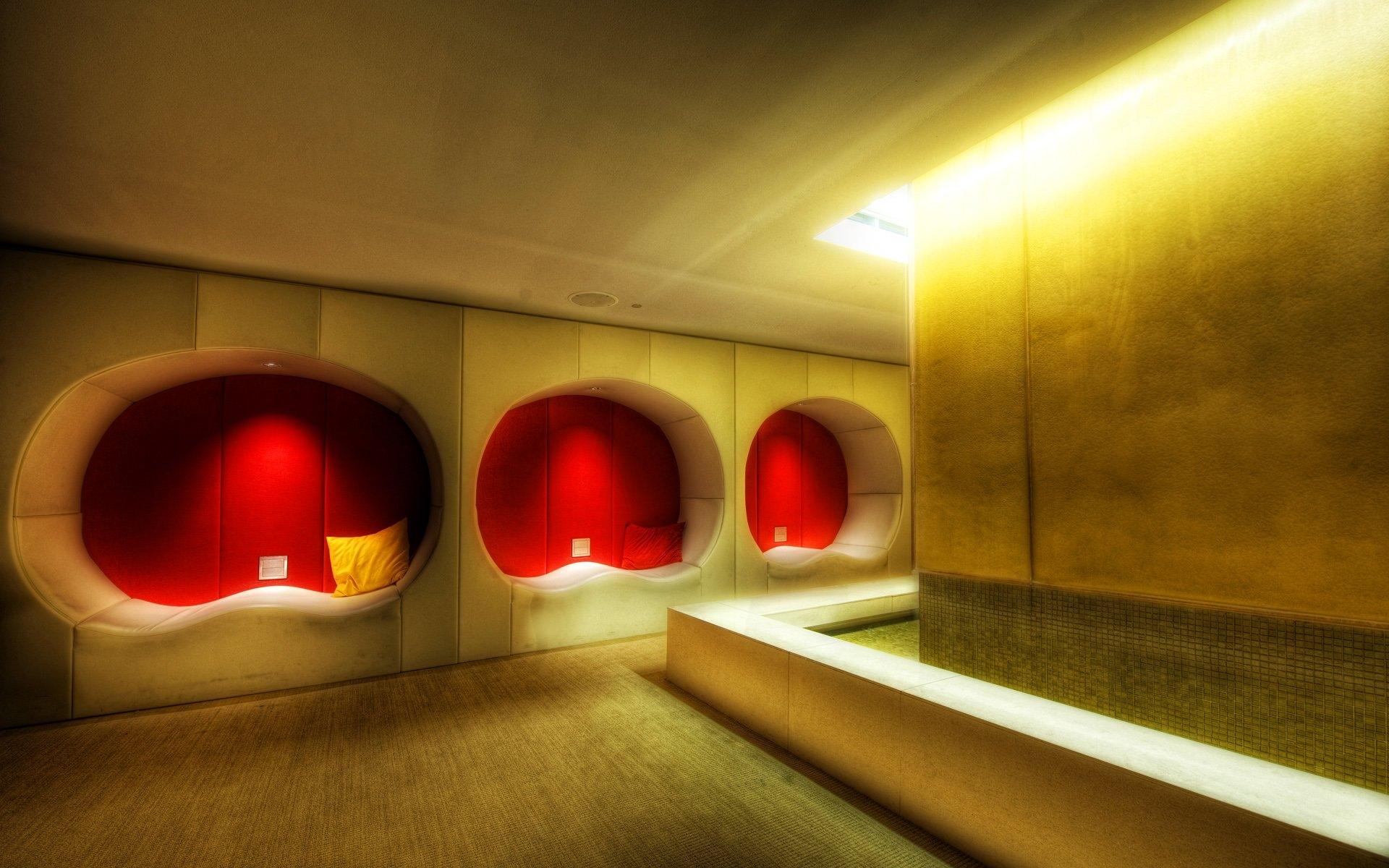 Wallpaper : night, red, wall, yellow, modern, interior design, light ...