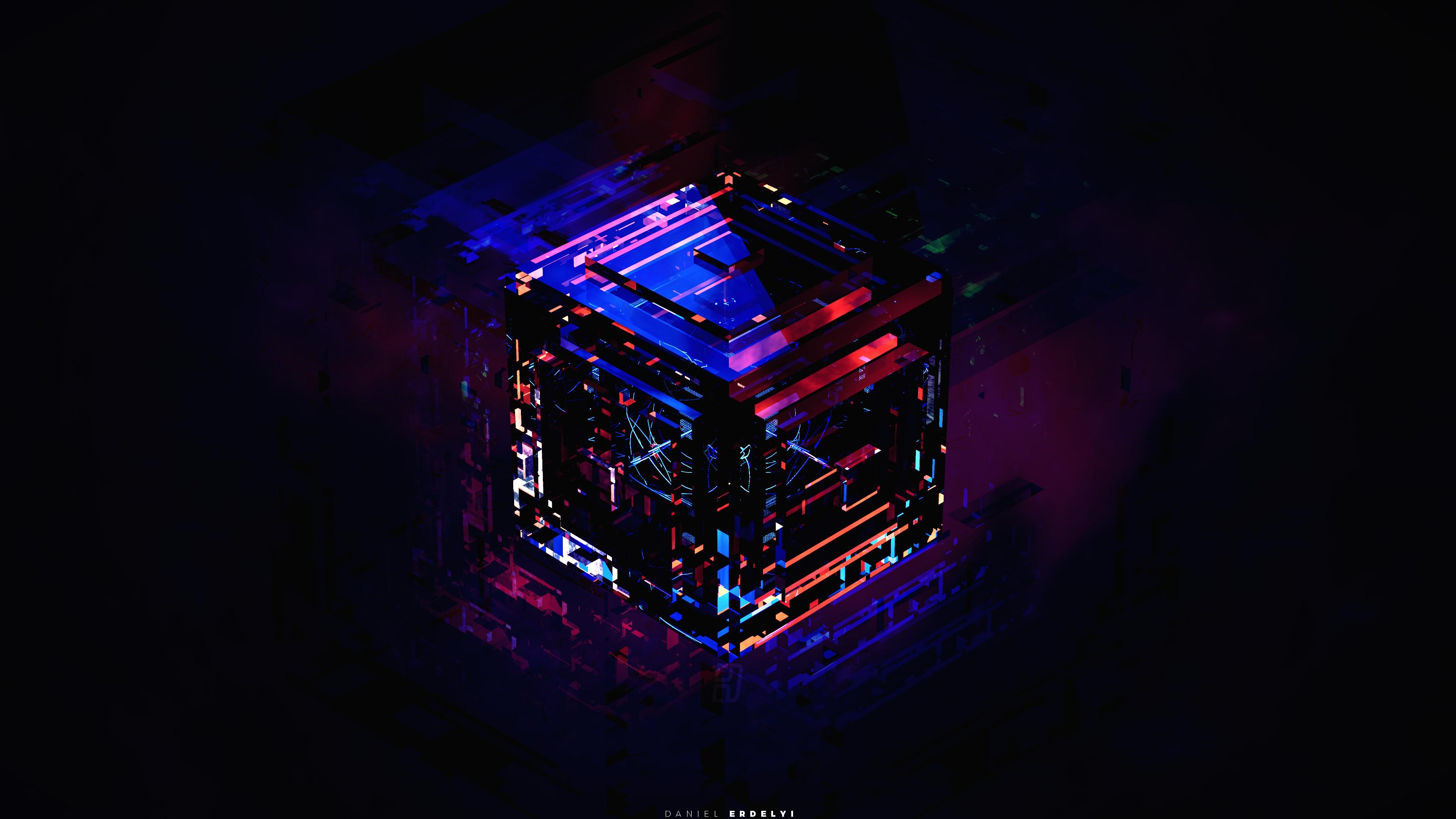 デスクトップ壁紙 夜 反射 青 立方体 キュービック 光 色