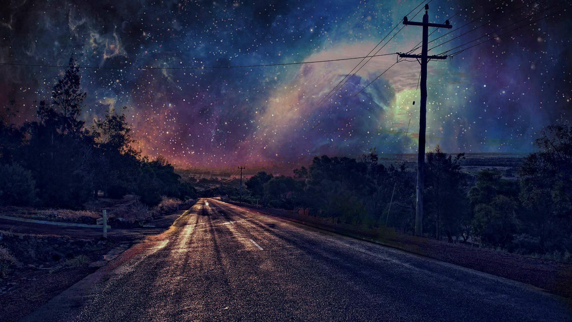 Wallpaper night road stars atmosphere utility pole - Anime scenery wallpaper laptop ...