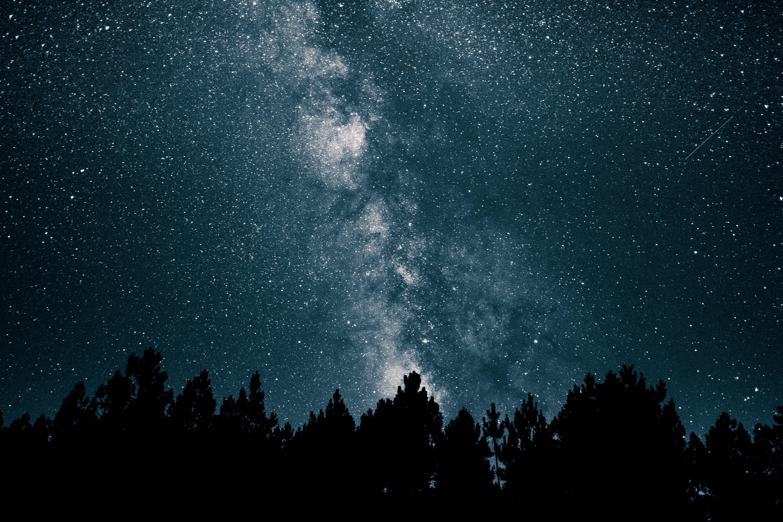night sky starry night night sky stars space galaxy silhouette outdoors nature white blue Milky Way trees dark black minimalism long exposure astronomy nebula 1577181