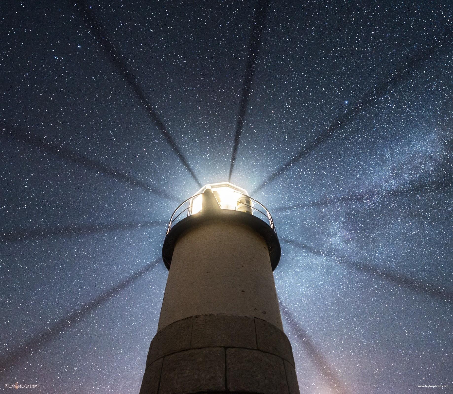Wallpaper Night Reflection Stars Lighthouse Astronomy