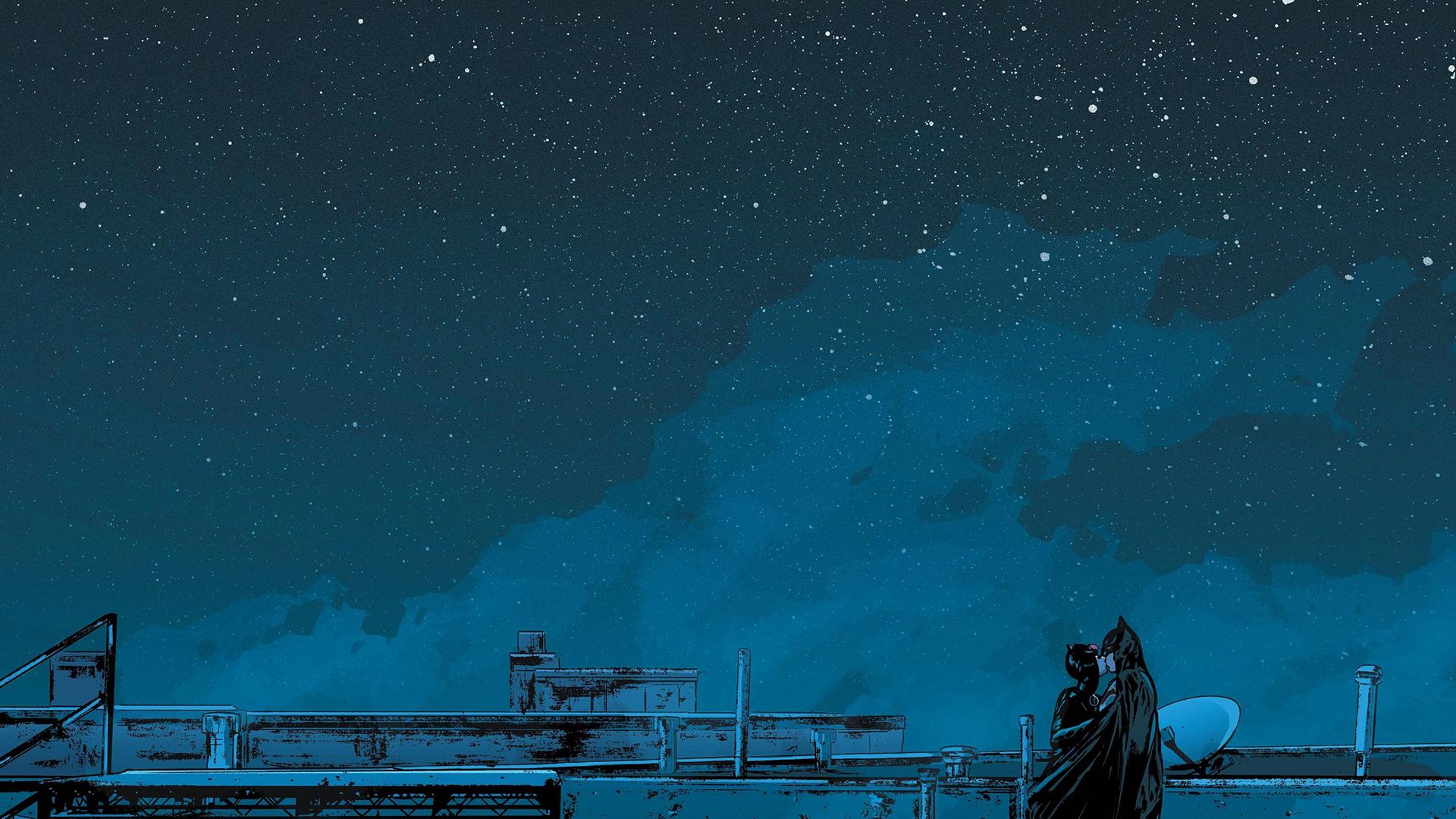 Wallpaper Batman Catwoman Moonlight Night Sky Starry Night