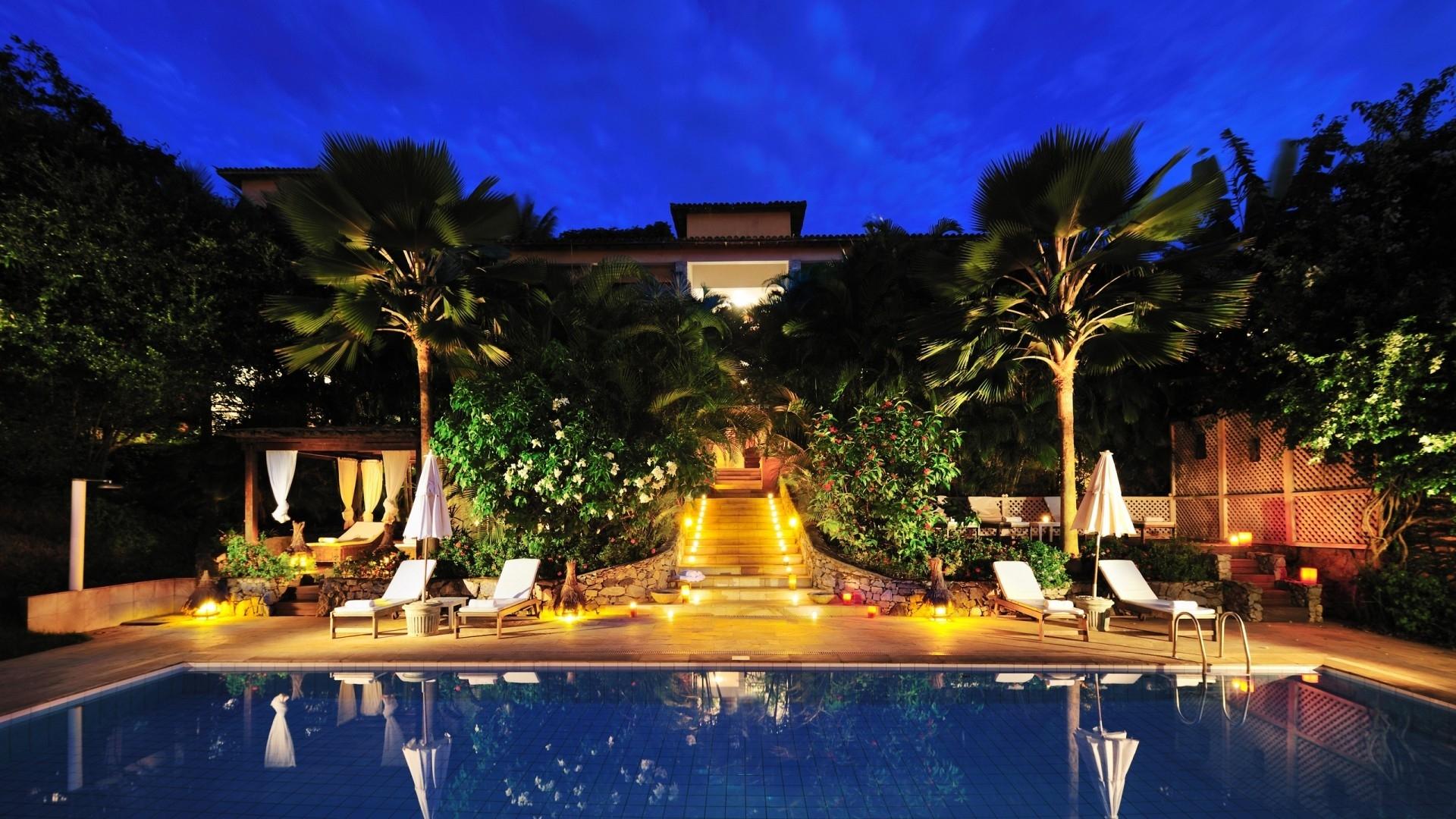 Wallpaper Night Swimming Pool Resort Palace Vacation