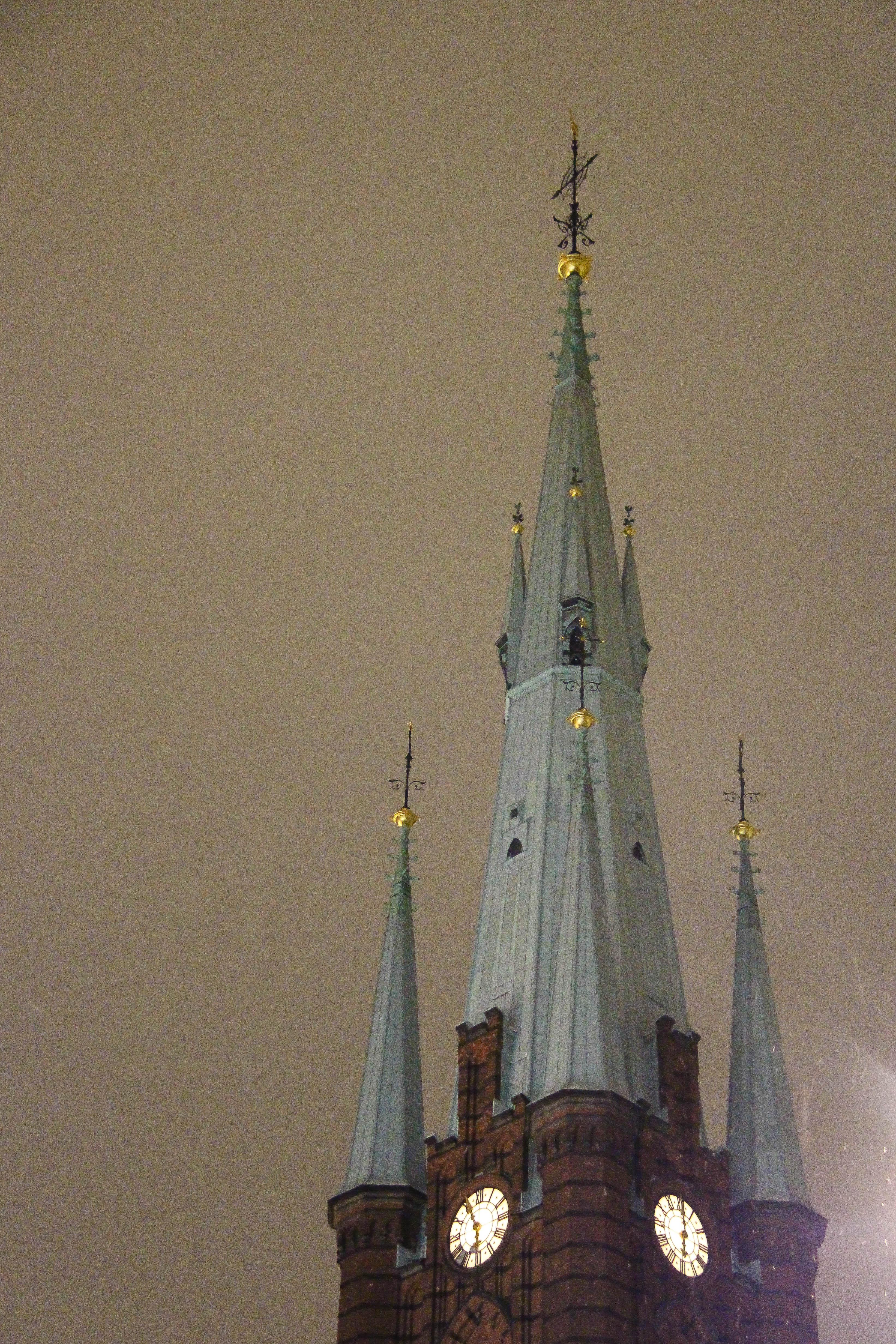Wallpaper Night Tower Stockholm Church Spire Light