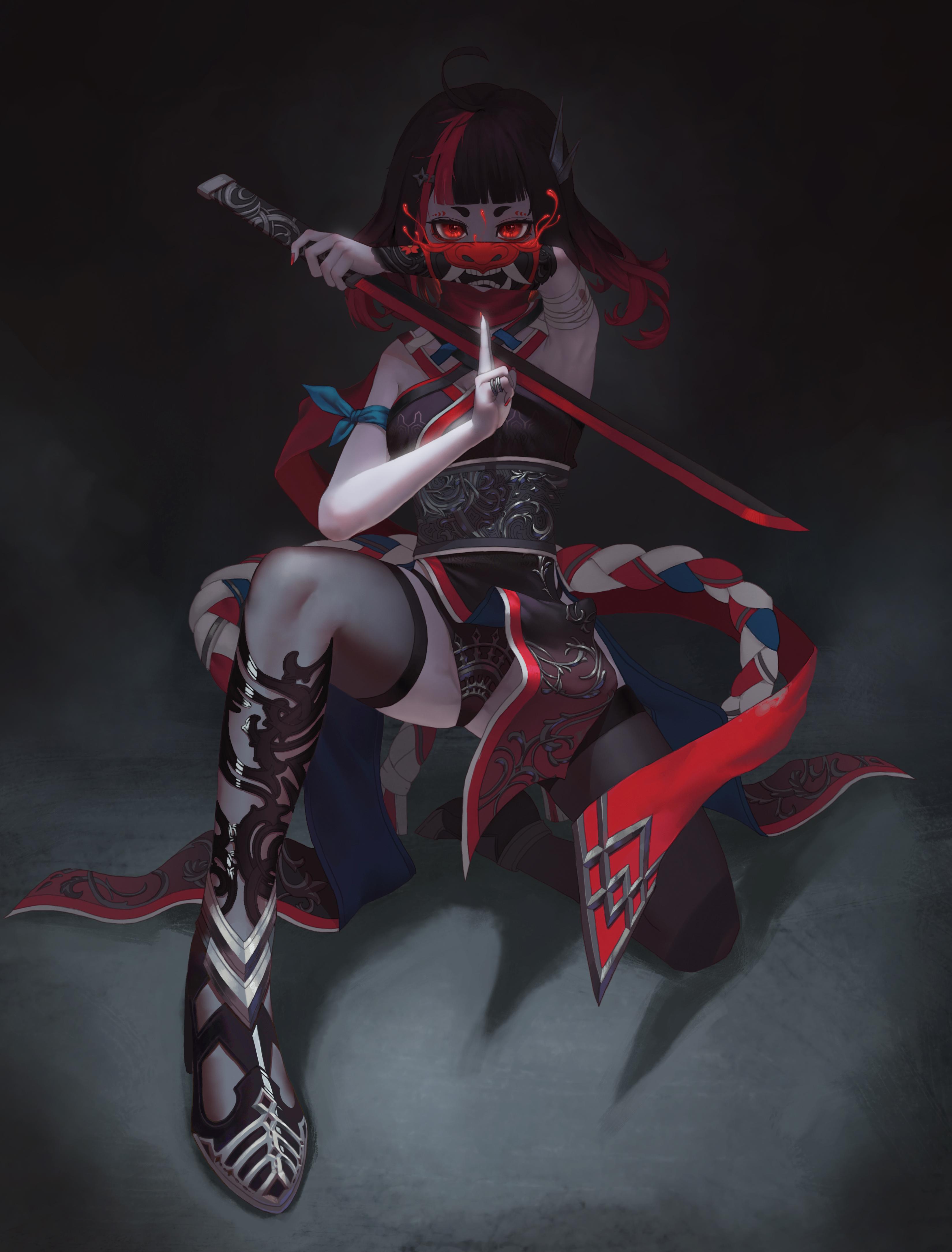 Wallpaper : ninja girl, oni mask, sword, red eyes, artwork